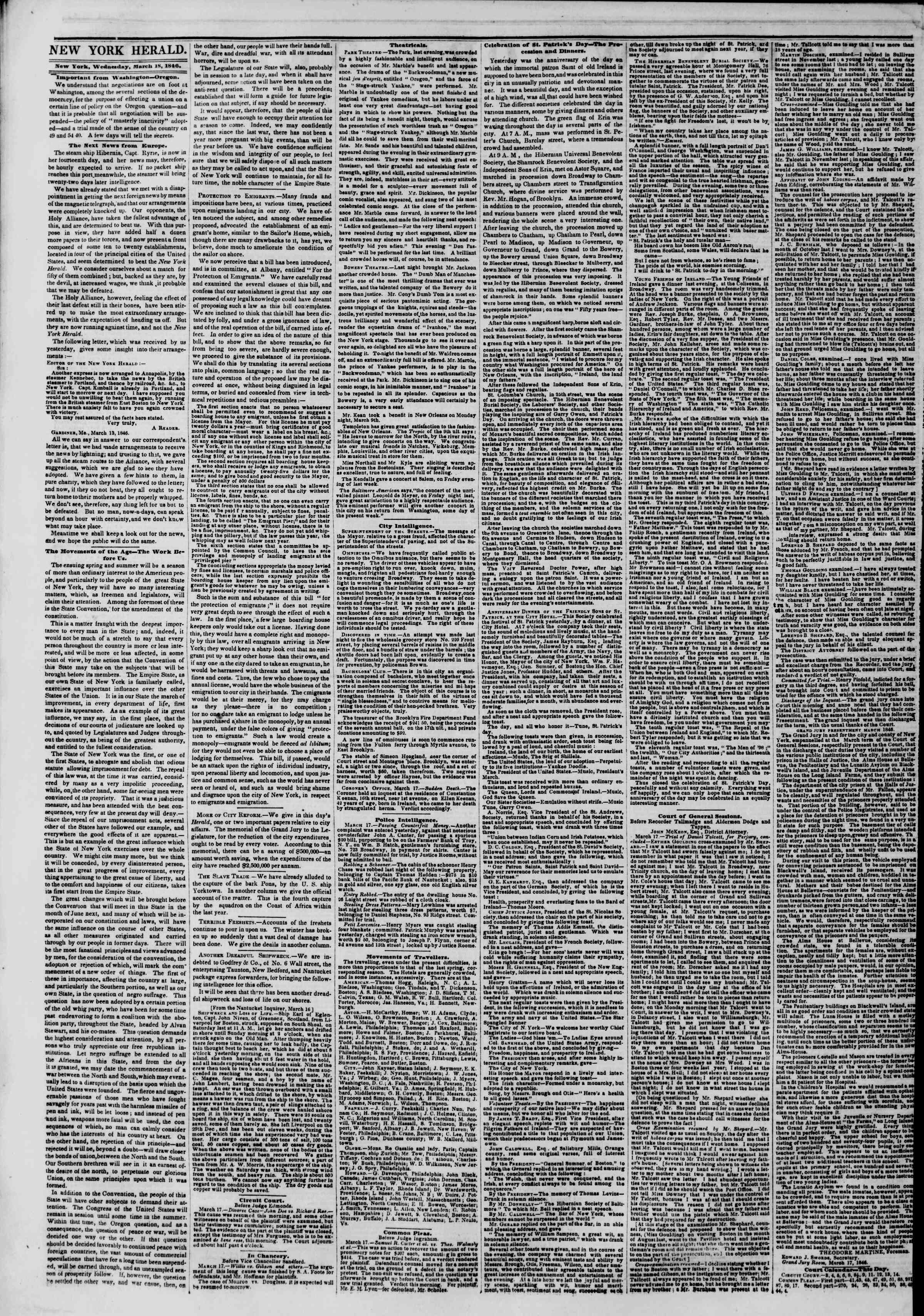 Newspaper of The New York Herald dated March 18, 1846 Page 2
