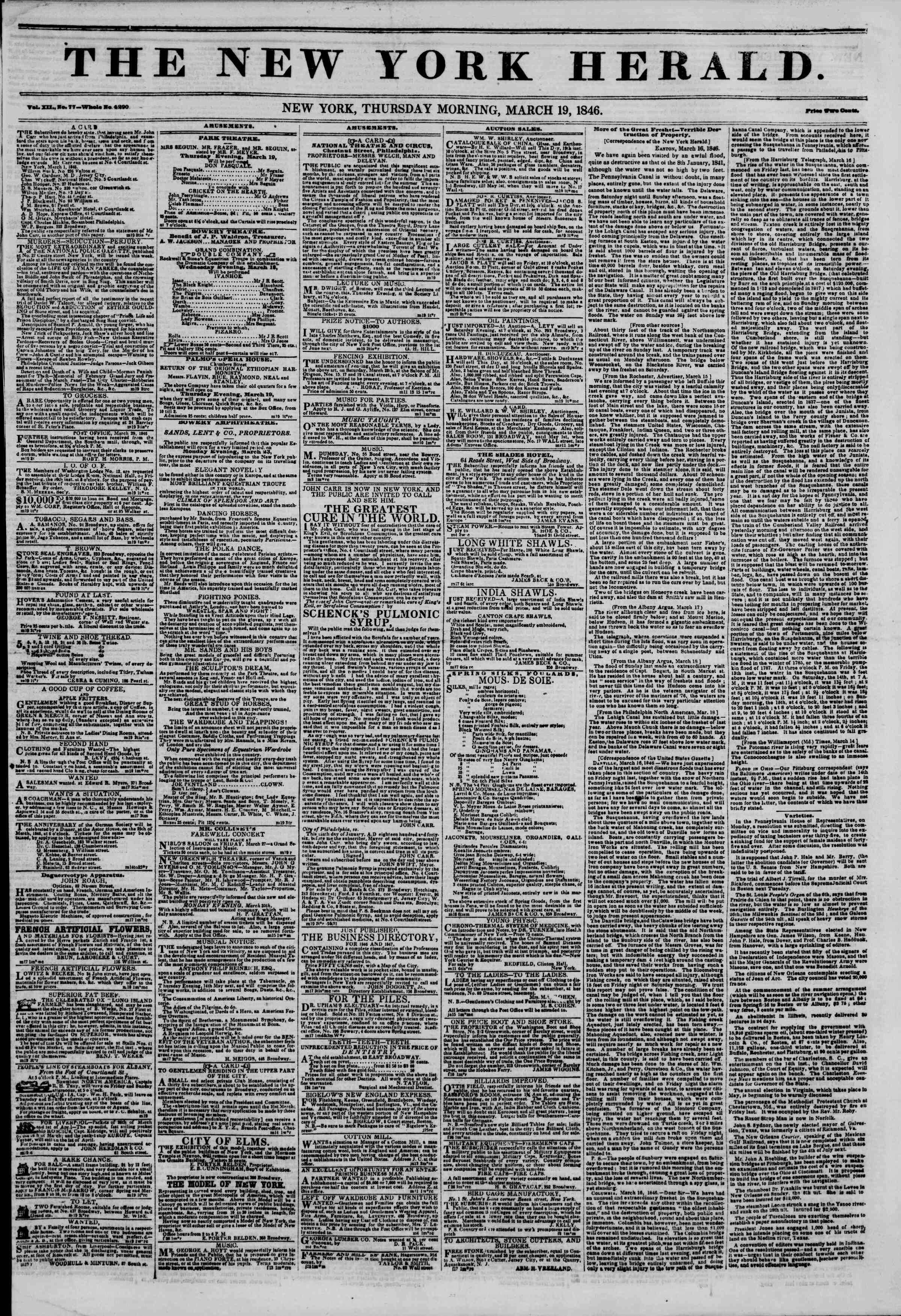 Newspaper of The New York Herald dated March 19, 1846 Page 1