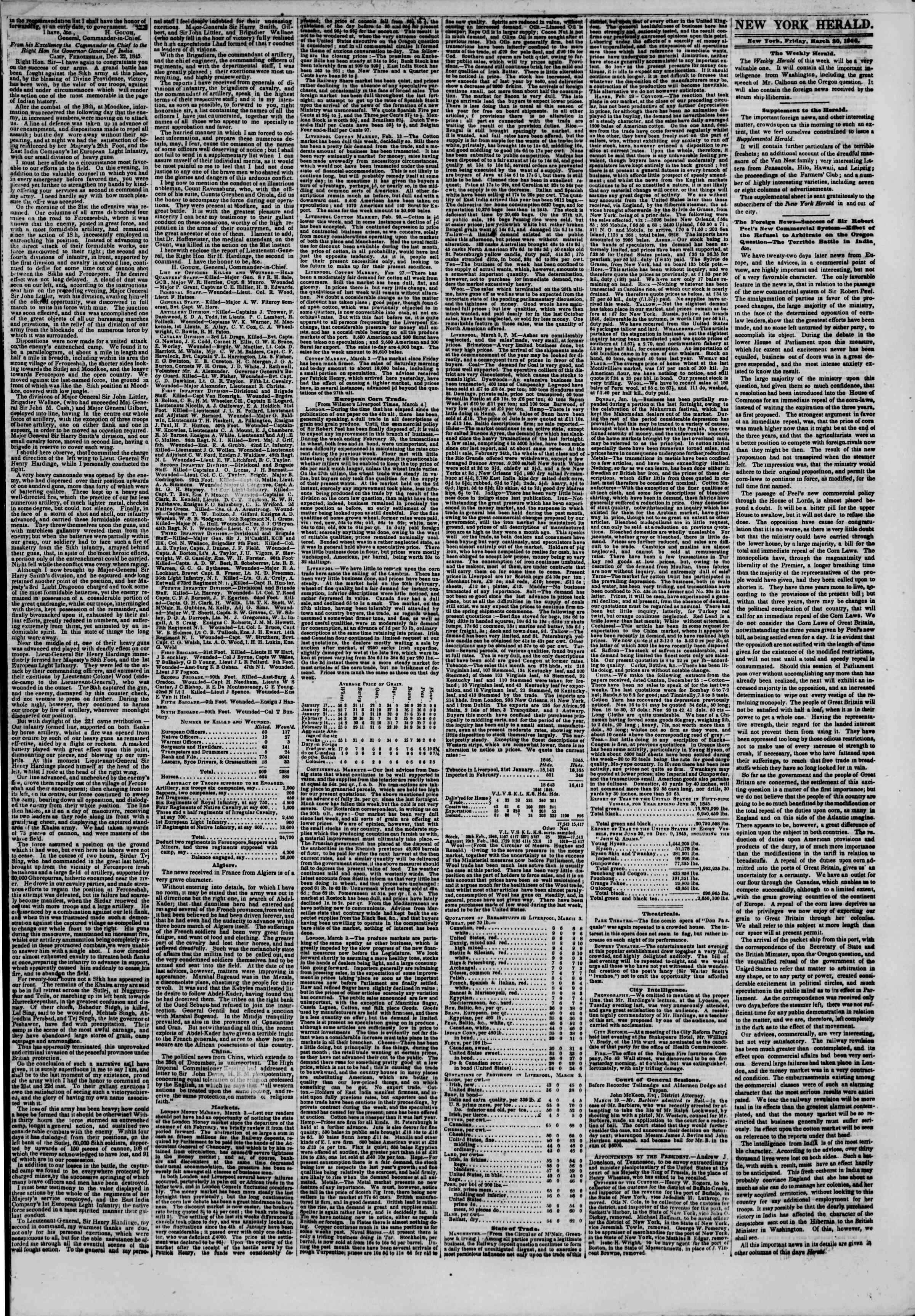 Newspaper of The New York Herald dated March 20, 1846 Page 3