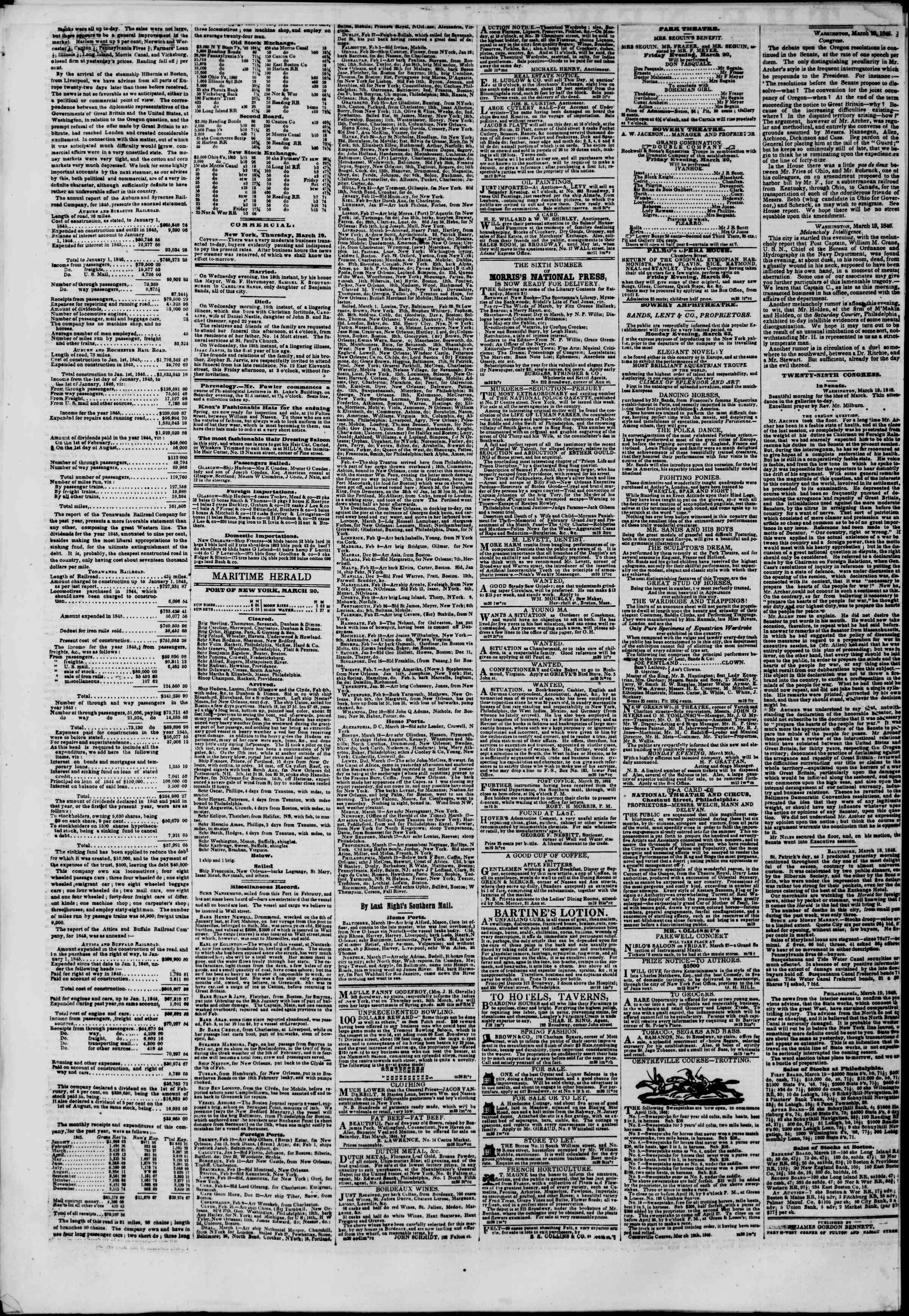 Newspaper of The New York Herald dated March 20, 1846 Page 4