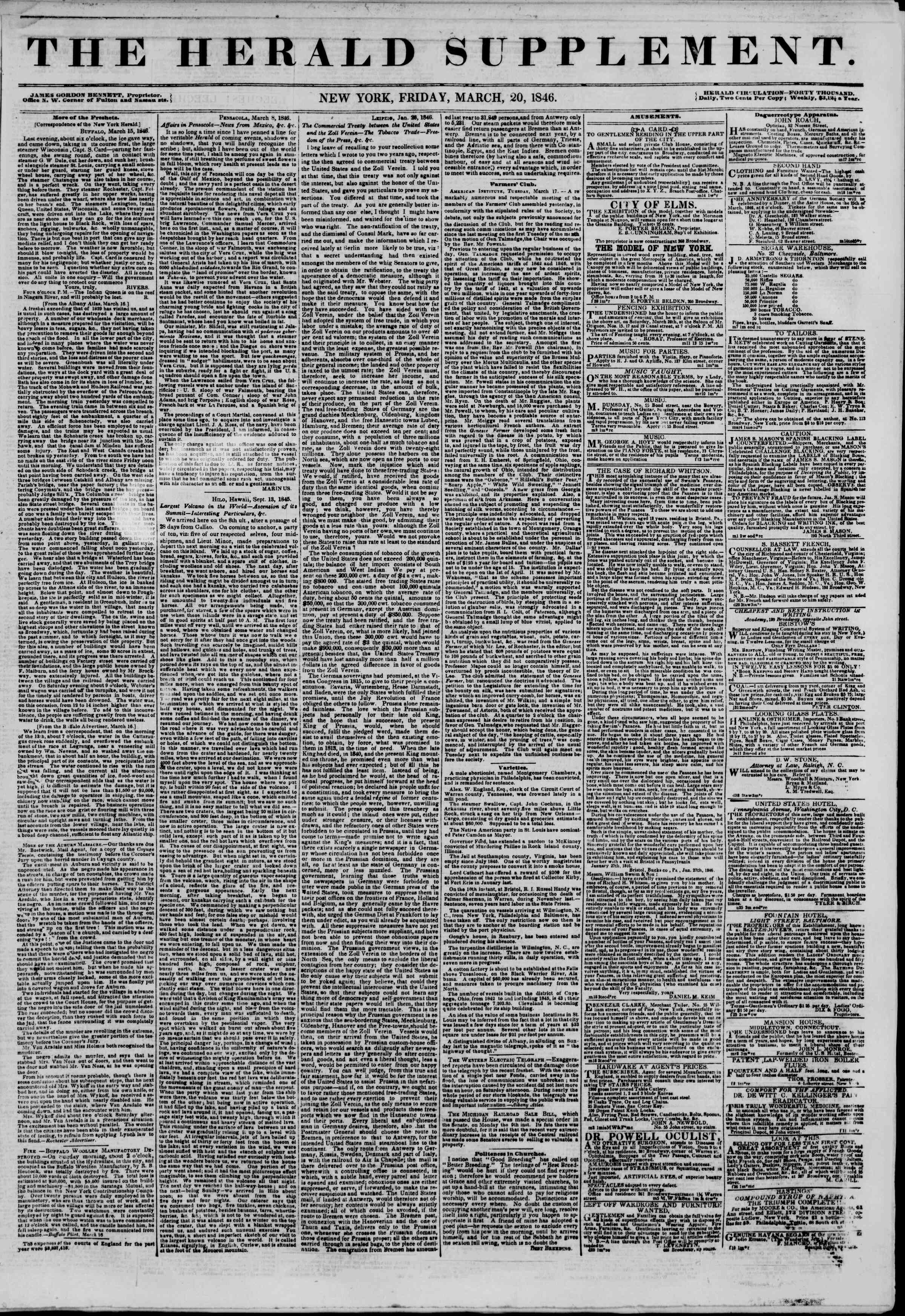Newspaper of The New York Herald dated March 20, 1846 Page 5