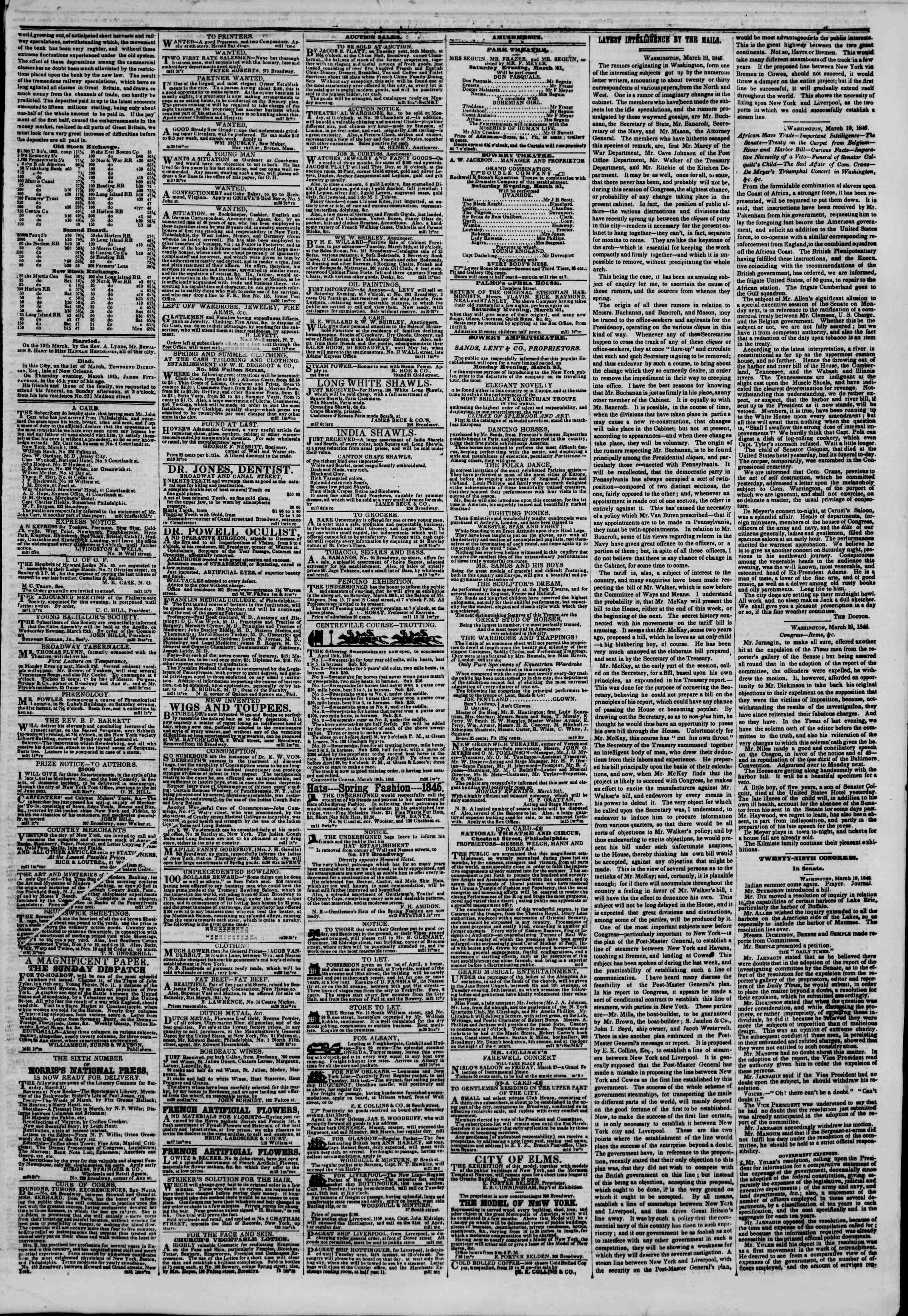 Newspaper of The New York Herald dated March 21, 1846 Page 3