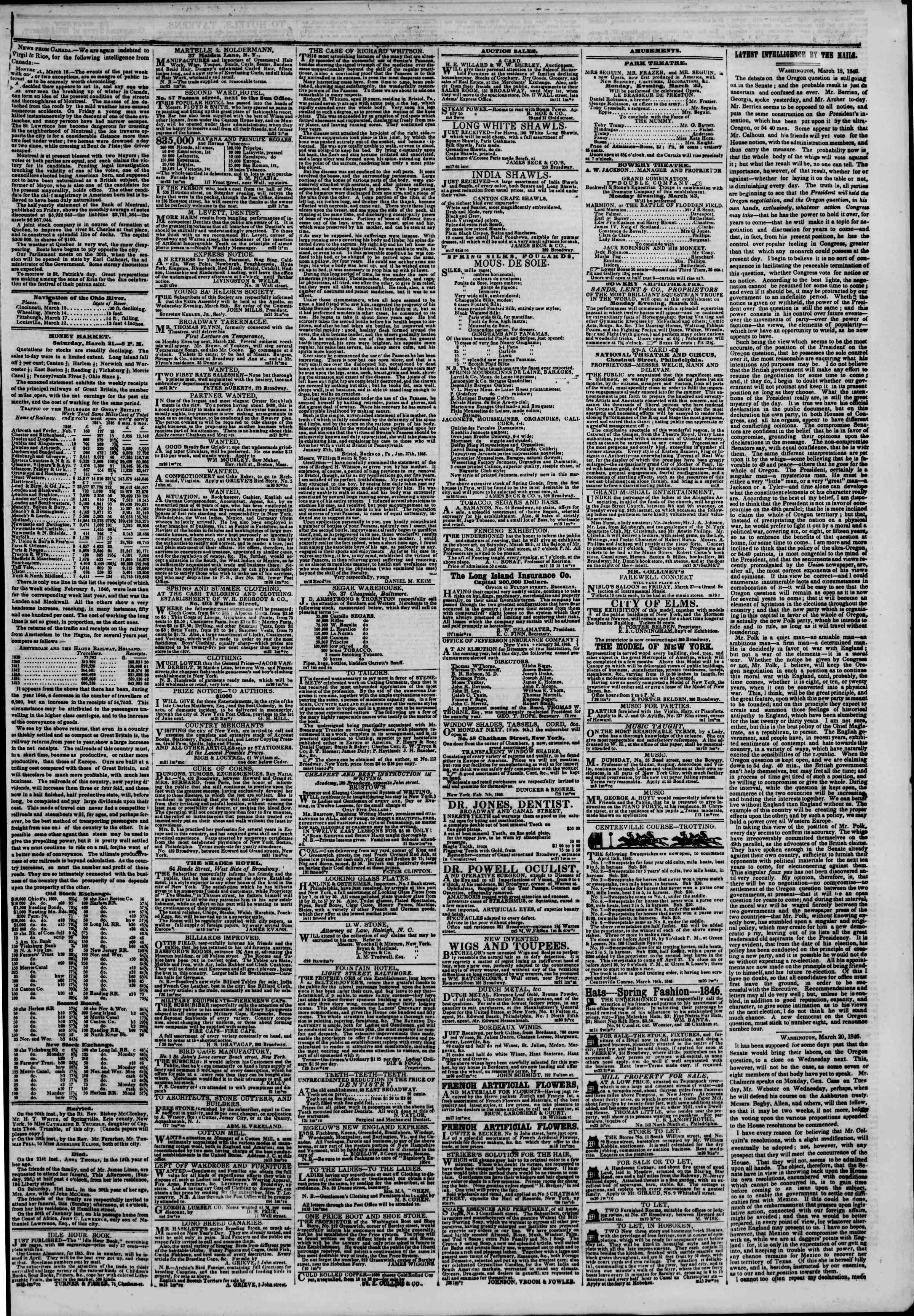Newspaper of The New York Herald dated March 22, 1846 Page 3