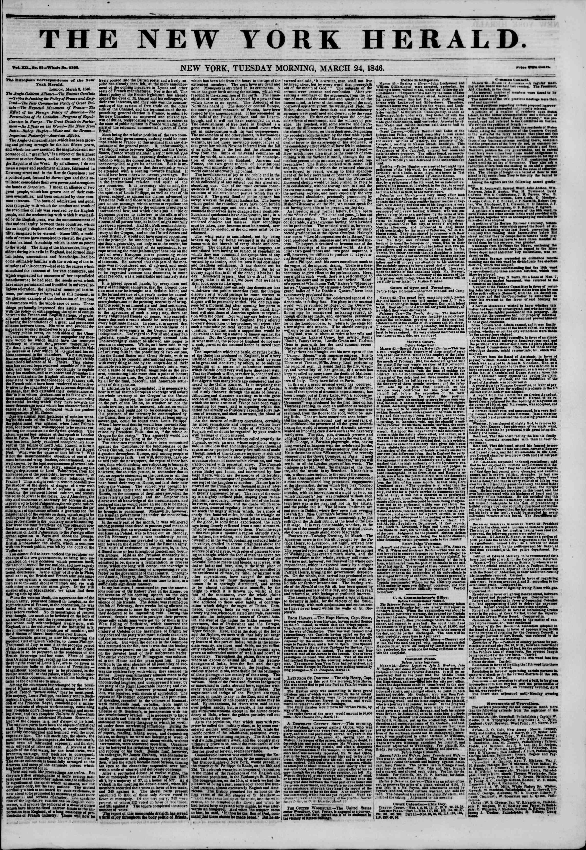 24 Mart 1846 tarihli The New York Herald Gazetesi Sayfa 1