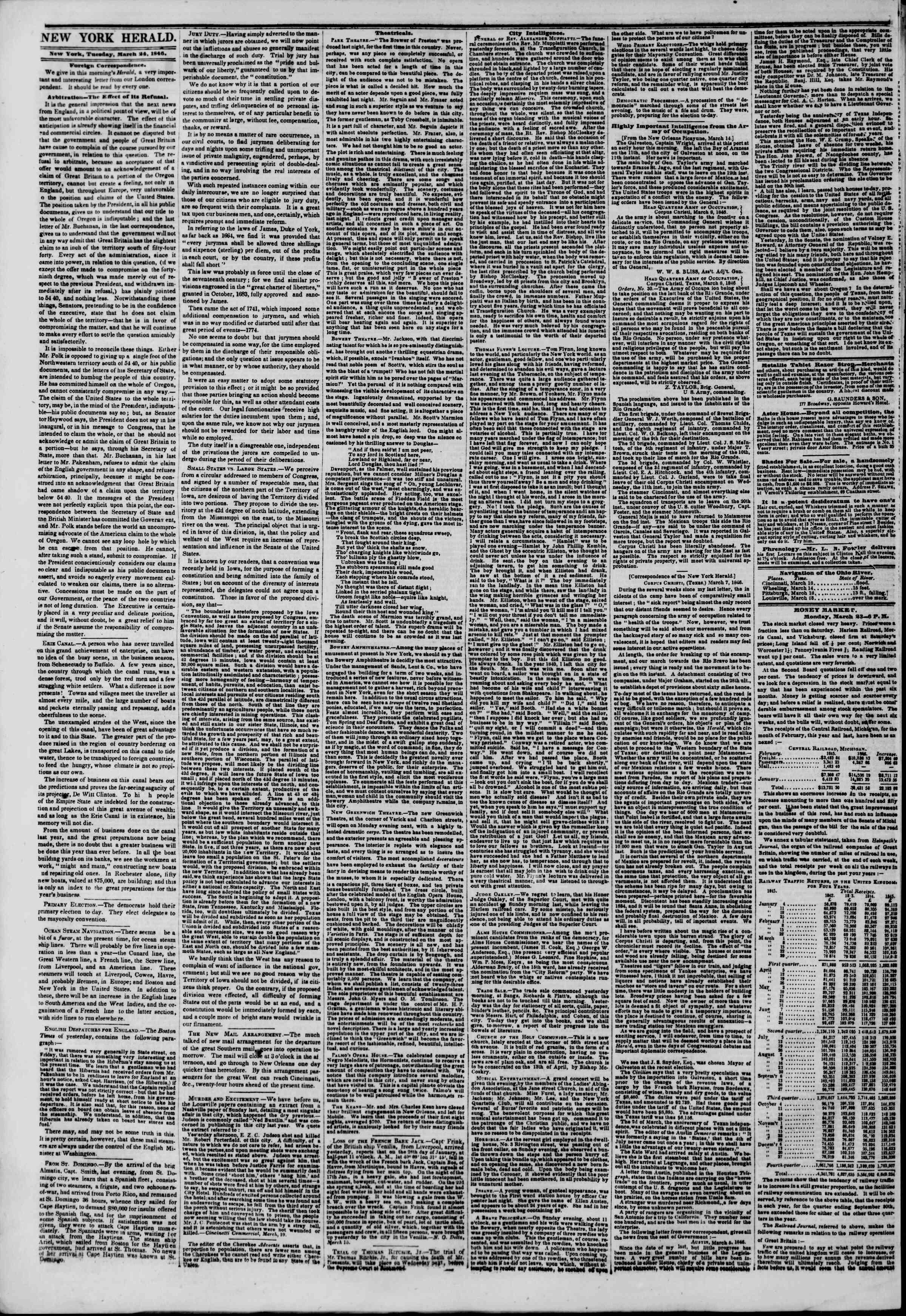 24 Mart 1846 tarihli The New York Herald Gazetesi Sayfa 2