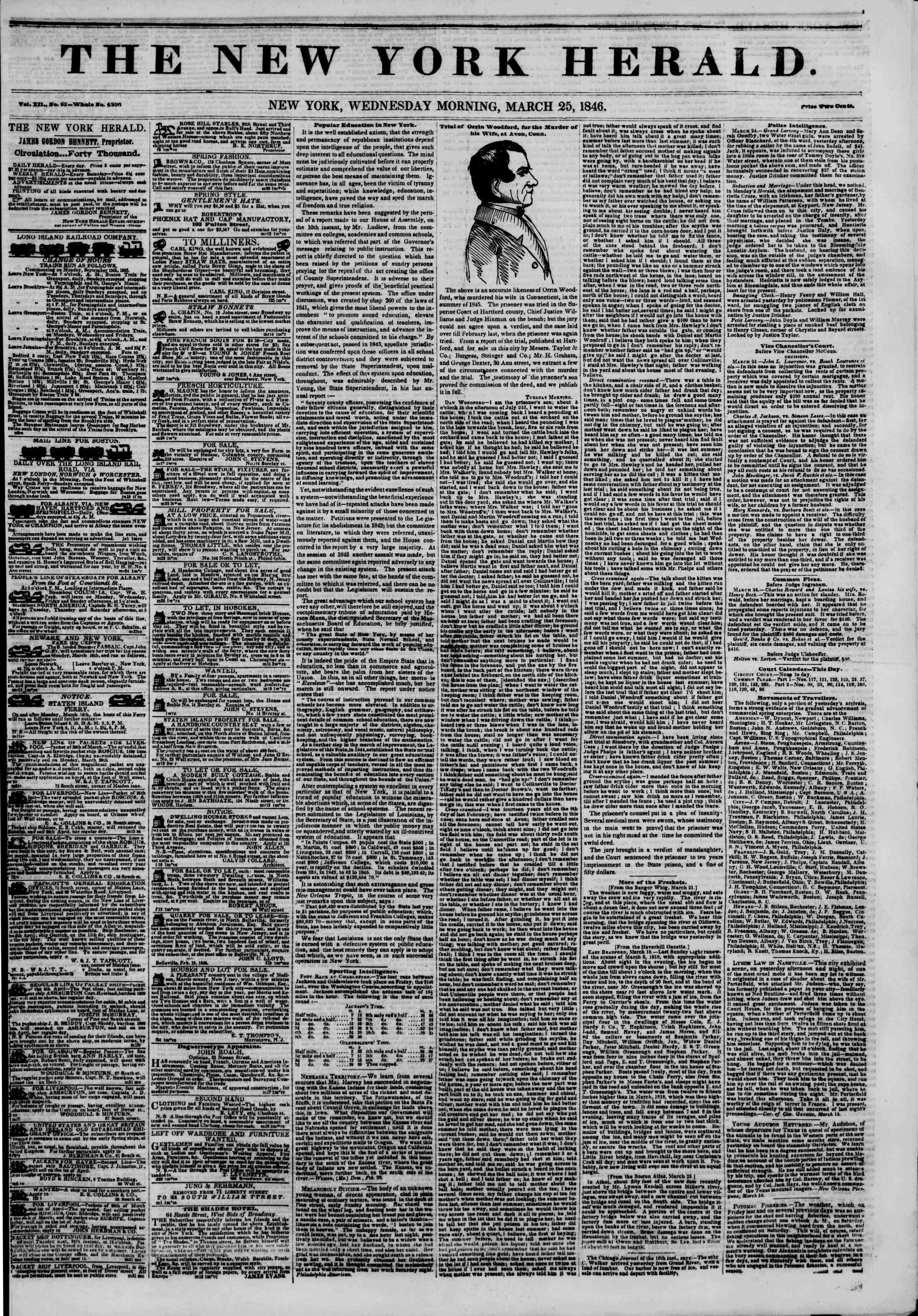 Newspaper of The New York Herald dated March 25, 1846 Page 1