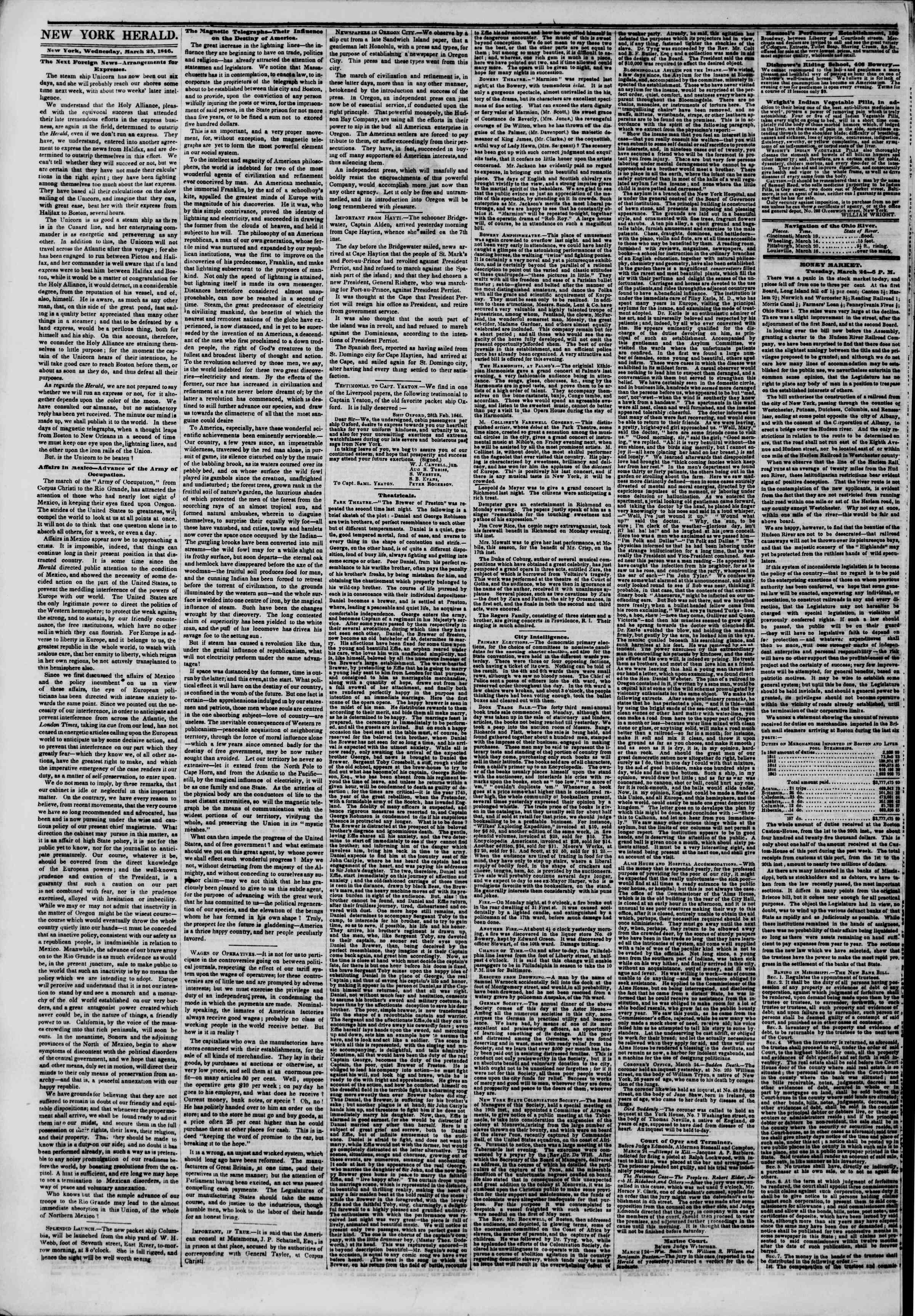 Newspaper of The New York Herald dated March 25, 1846 Page 2