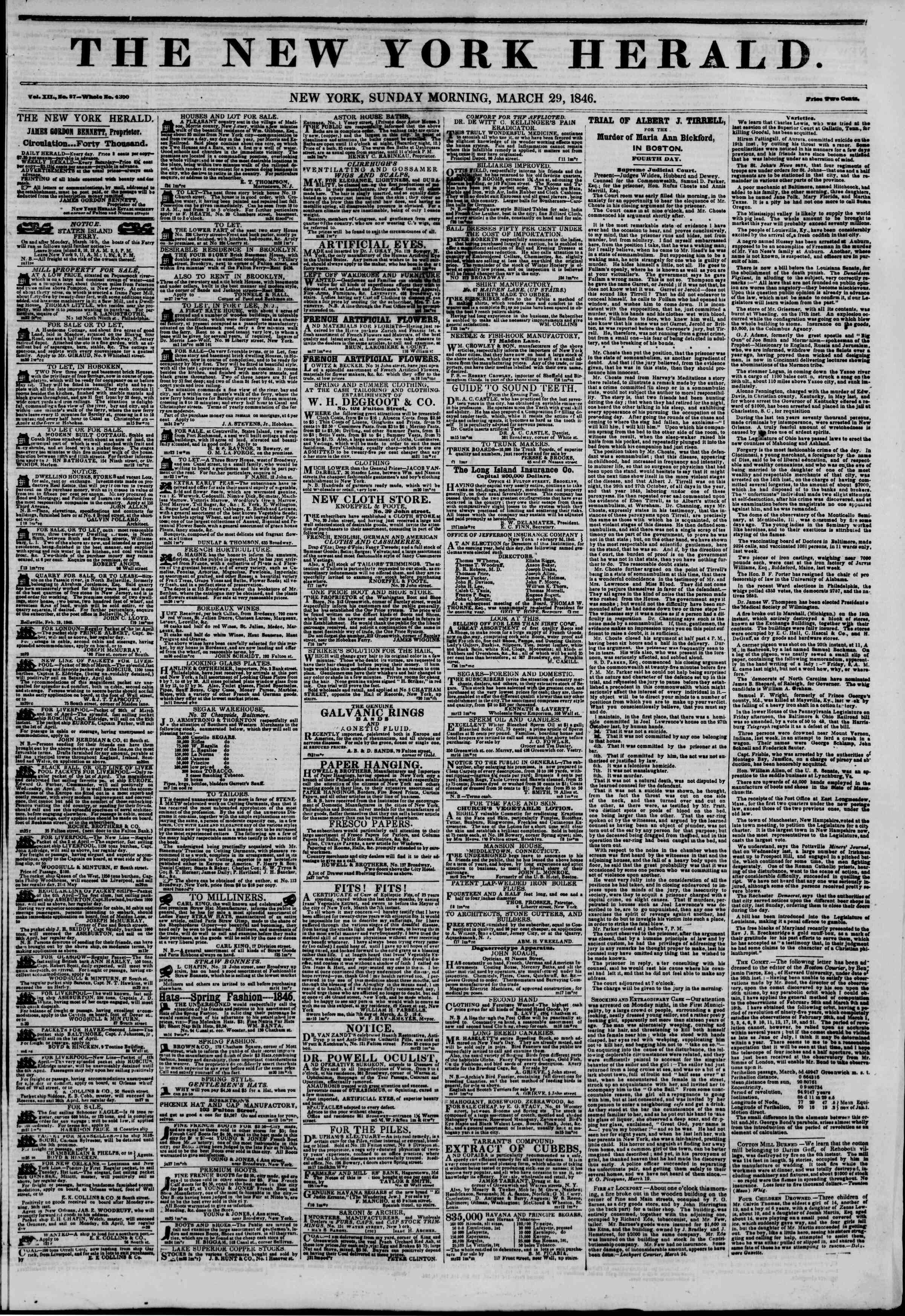 Newspaper of The New York Herald dated March 29, 1846 Page 1