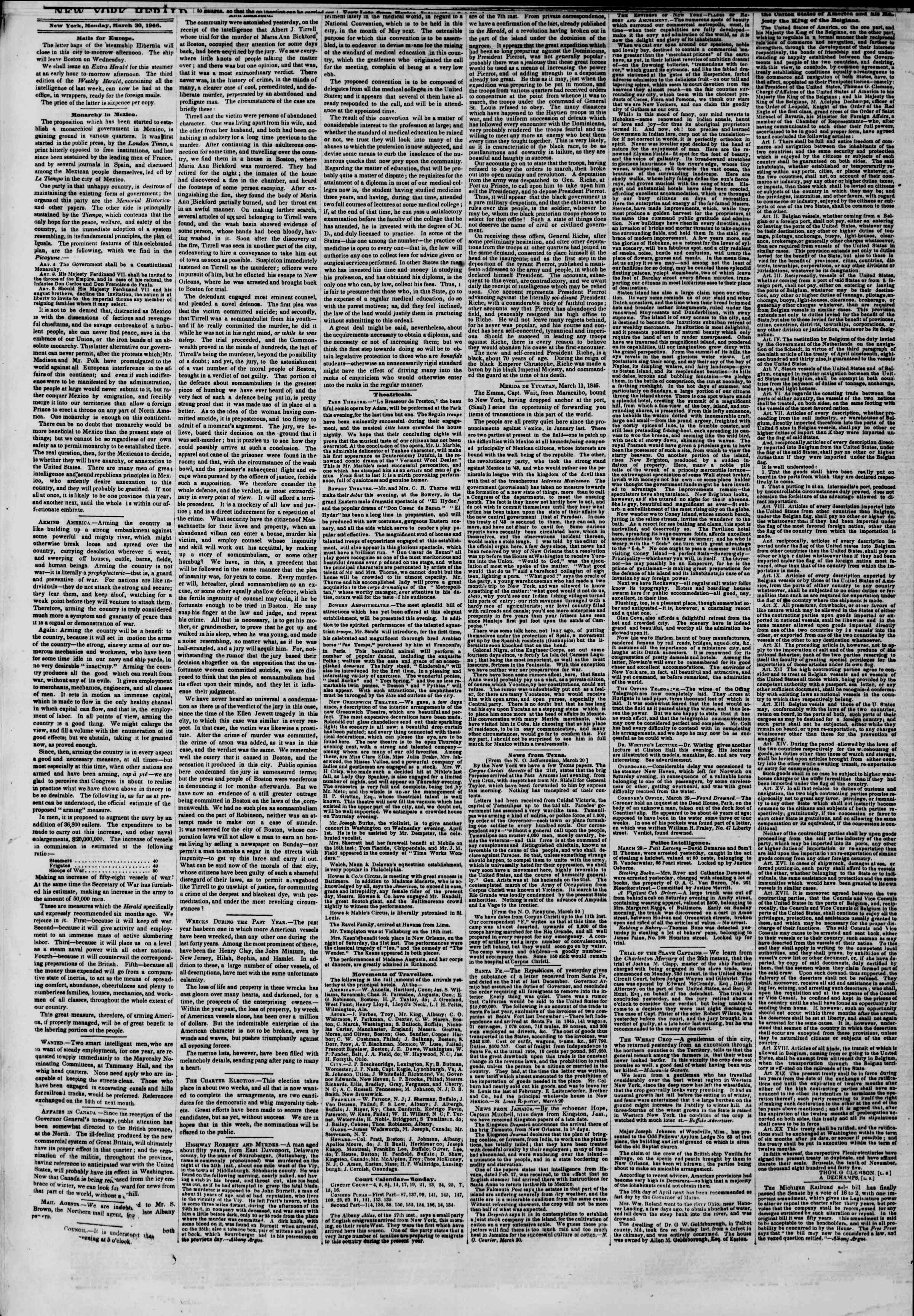 Newspaper of The New York Herald dated March 30, 1846 Page 2