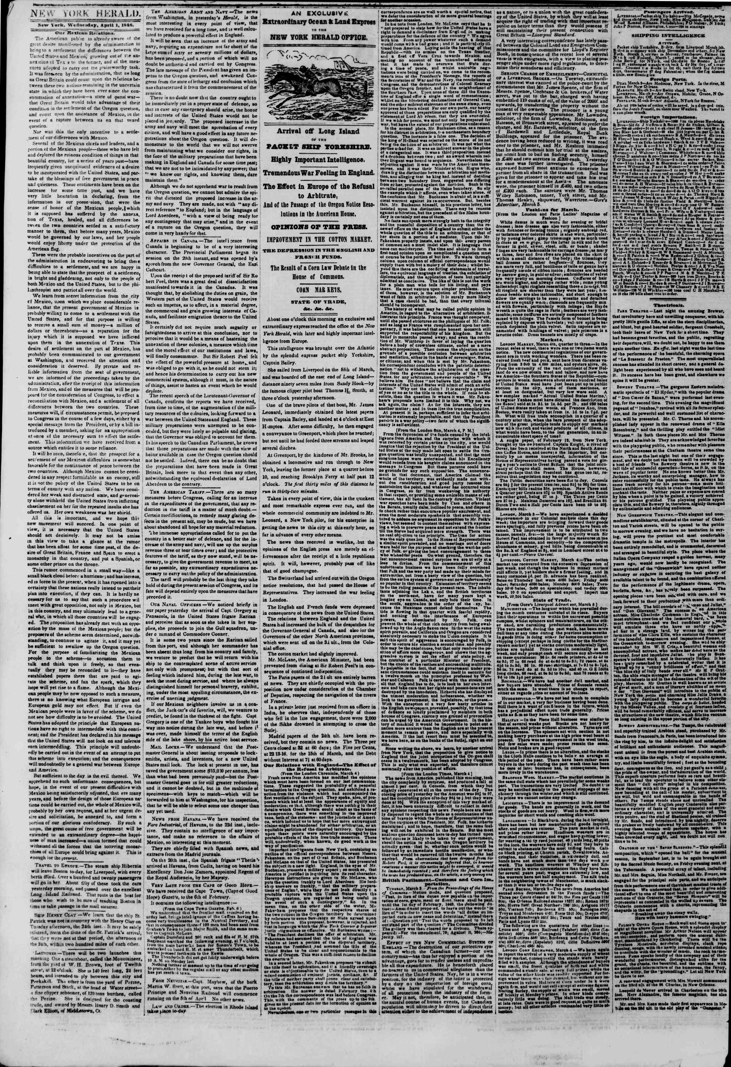 Newspaper of The New York Herald dated April 1, 1846 Page 2