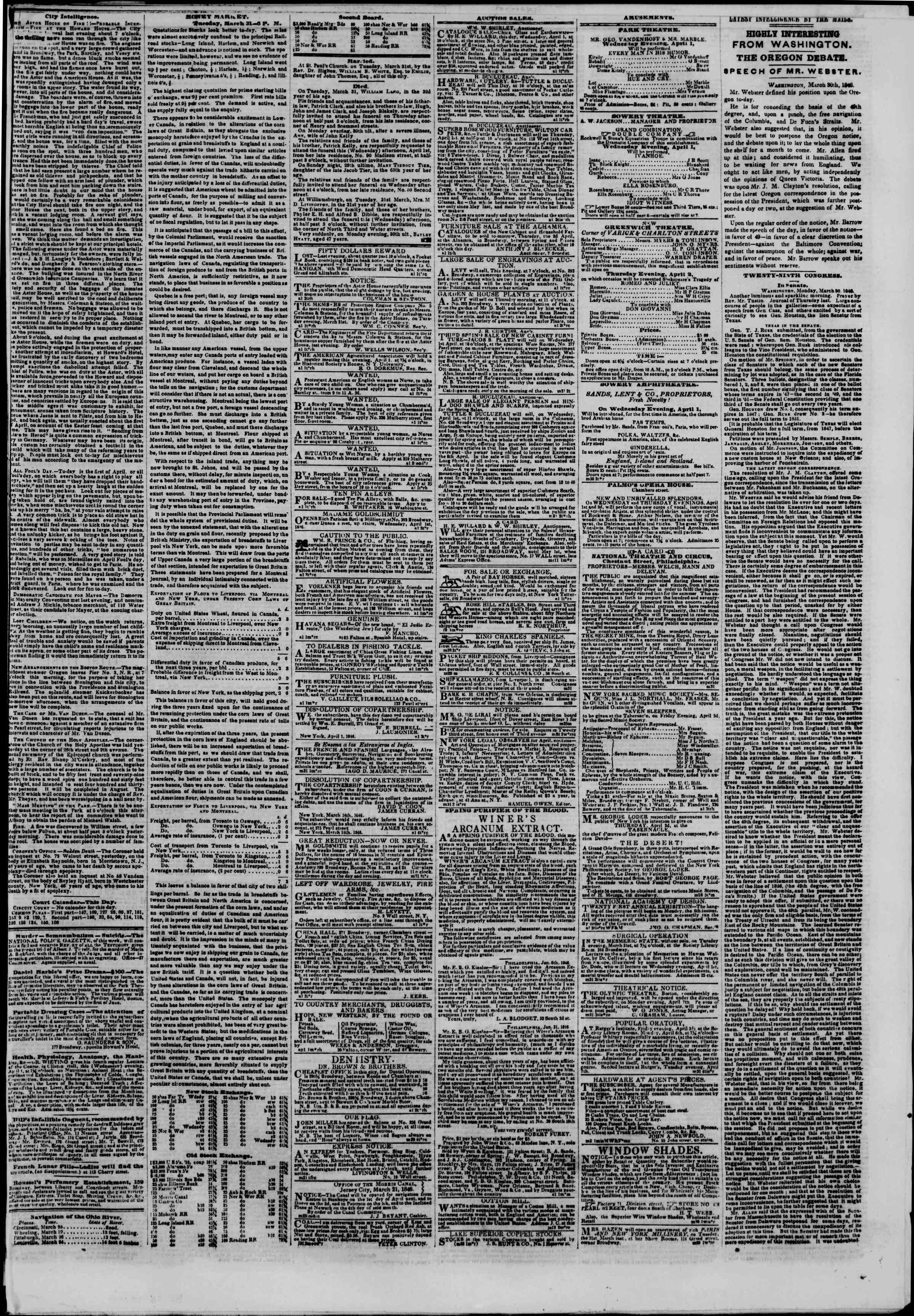 Newspaper of The New York Herald dated April 1, 1846 Page 3