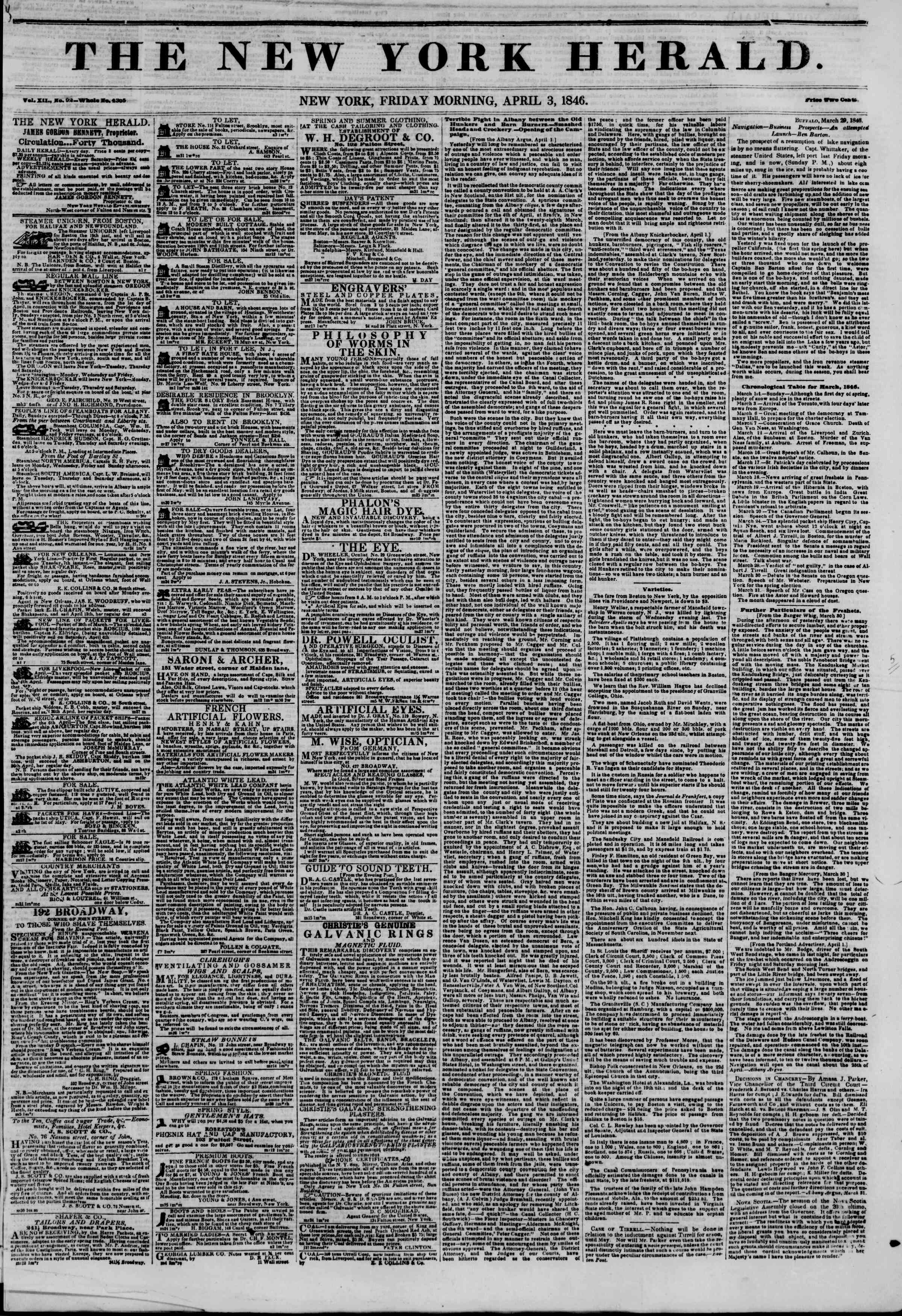 Newspaper of The New York Herald dated April 3, 1846 Page 1