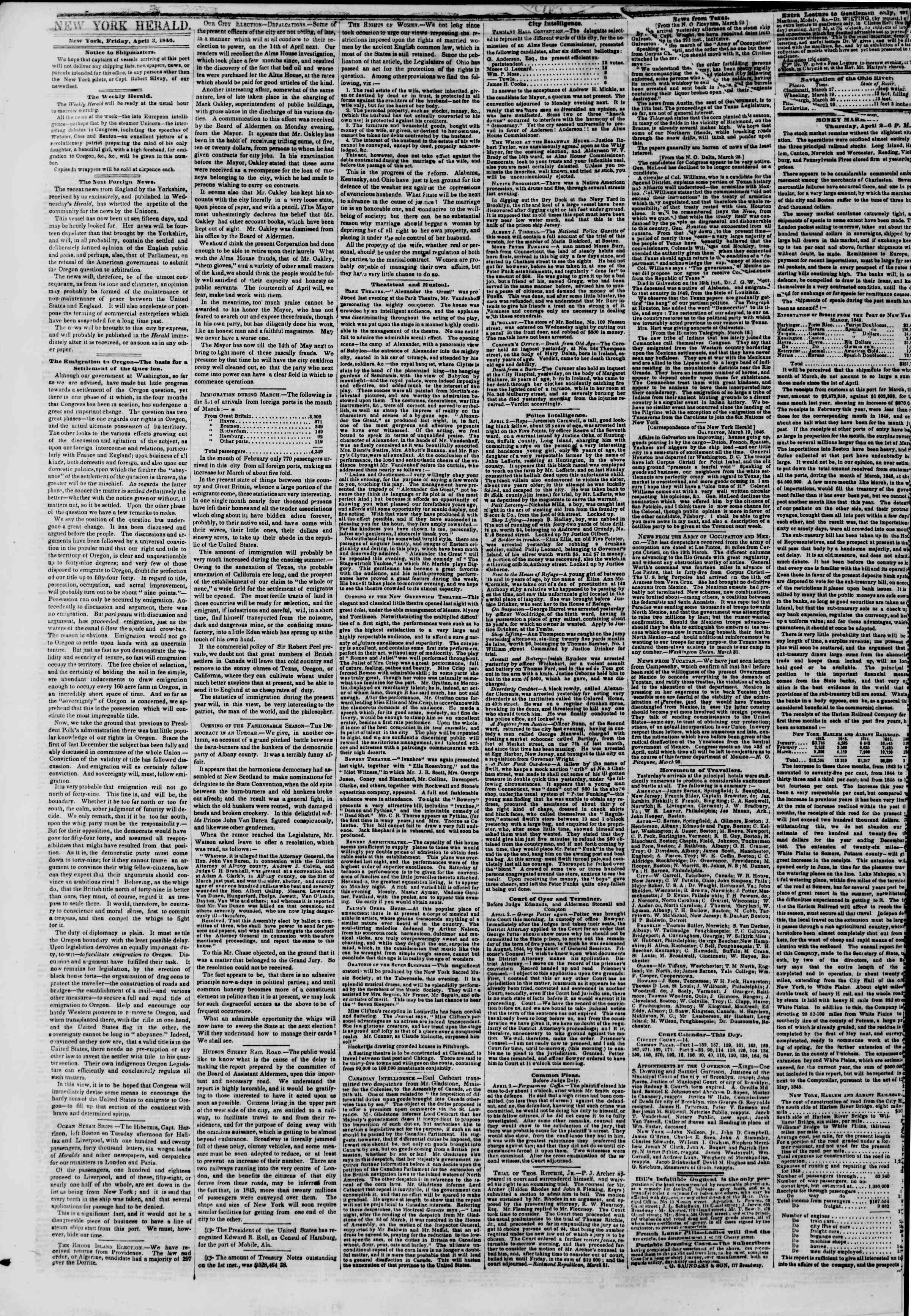 Newspaper of The New York Herald dated April 3, 1846 Page 2