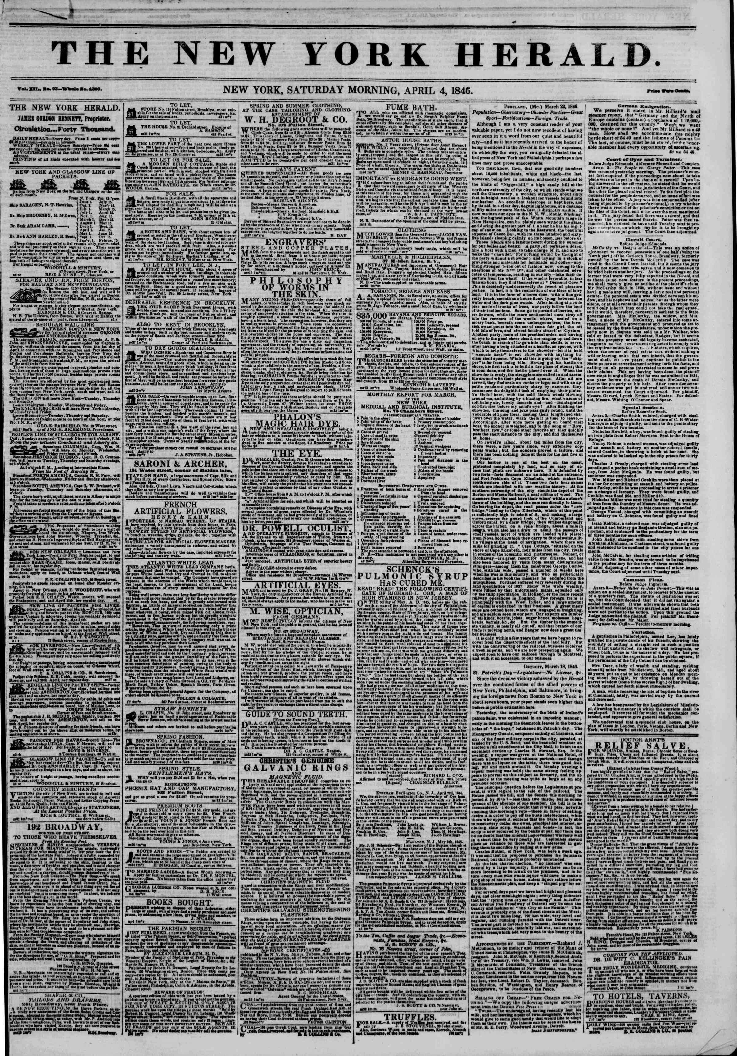 Newspaper of The New York Herald dated April 4, 1846 Page 1