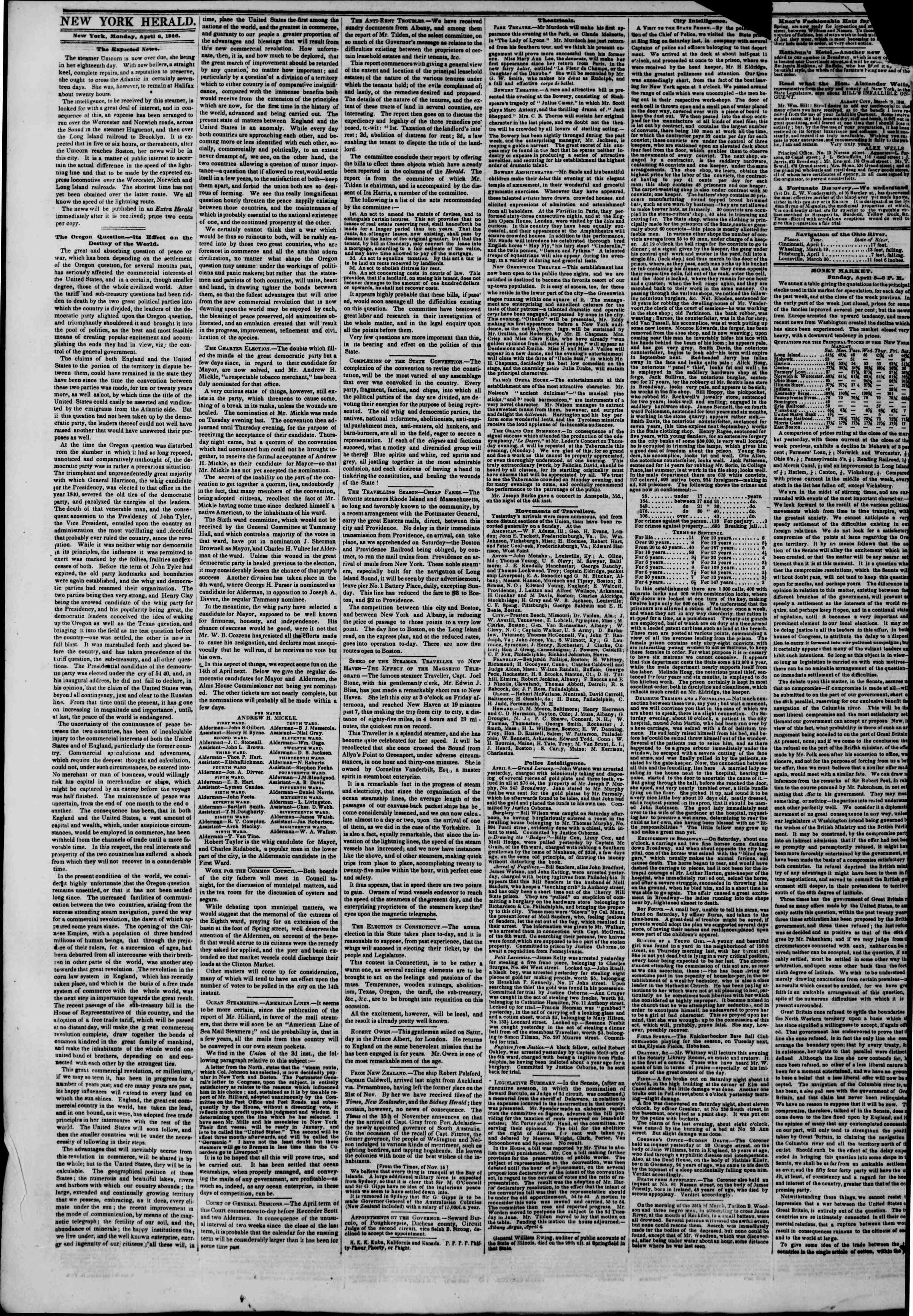 Newspaper of The New York Herald dated April 6, 1846 Page 2