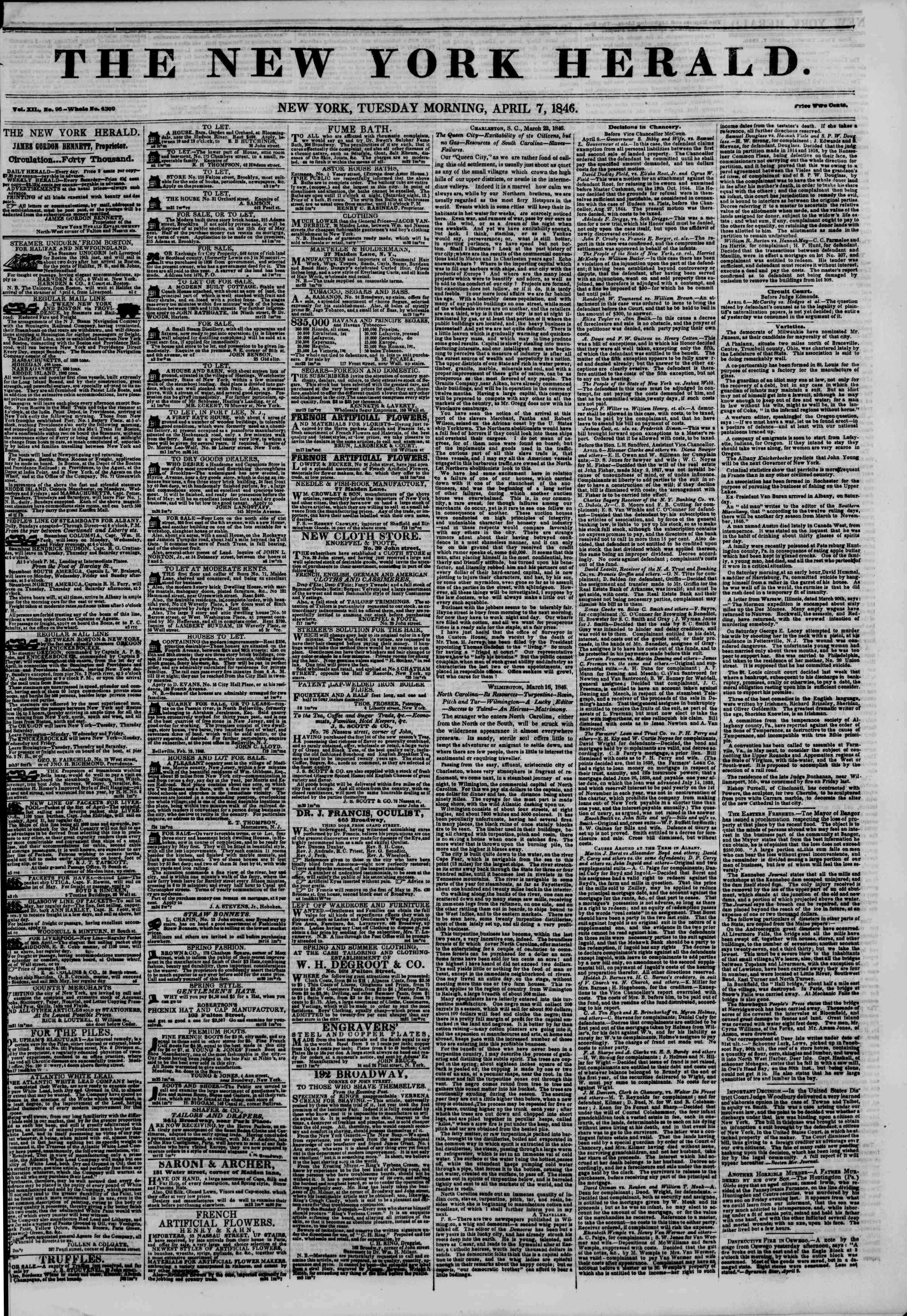 7 Nisan 1846 tarihli The New York Herald Gazetesi Sayfa 1