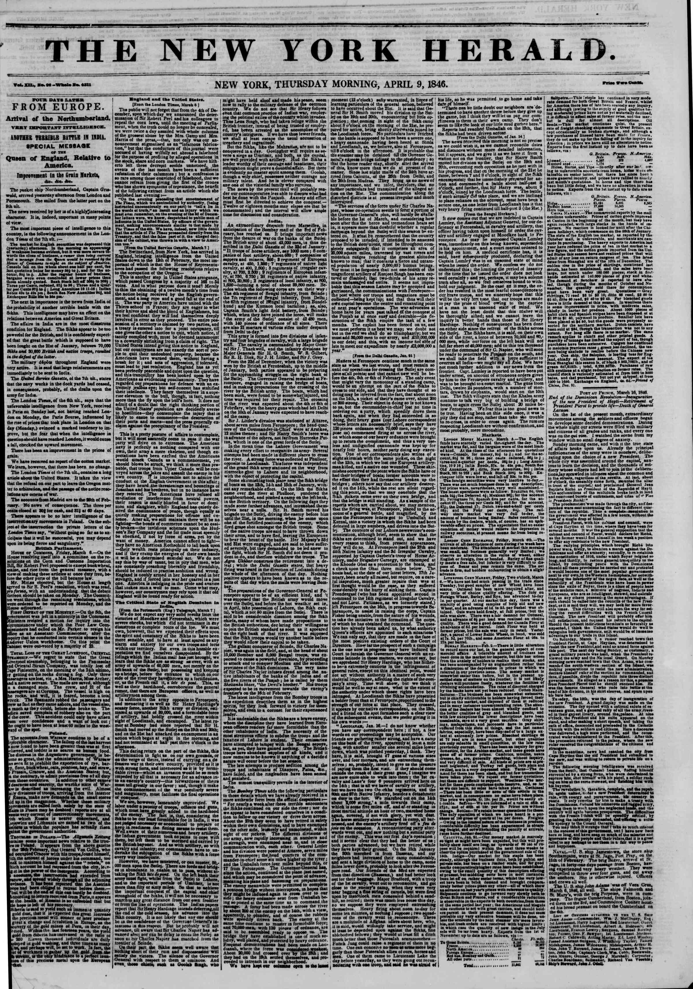 Newspaper of The New York Herald dated April 9, 1846 Page 1