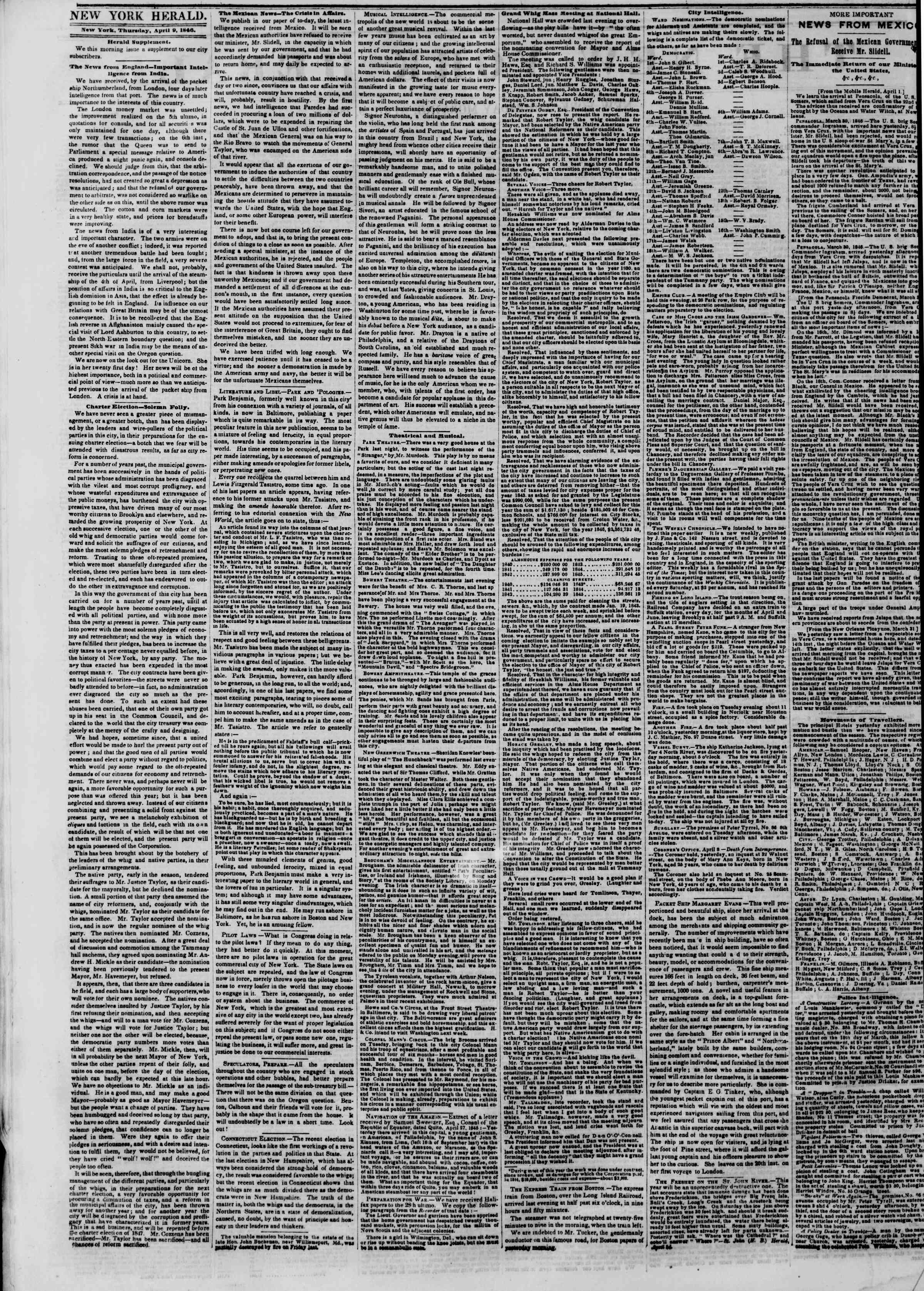 Newspaper of The New York Herald dated April 9, 1846 Page 2