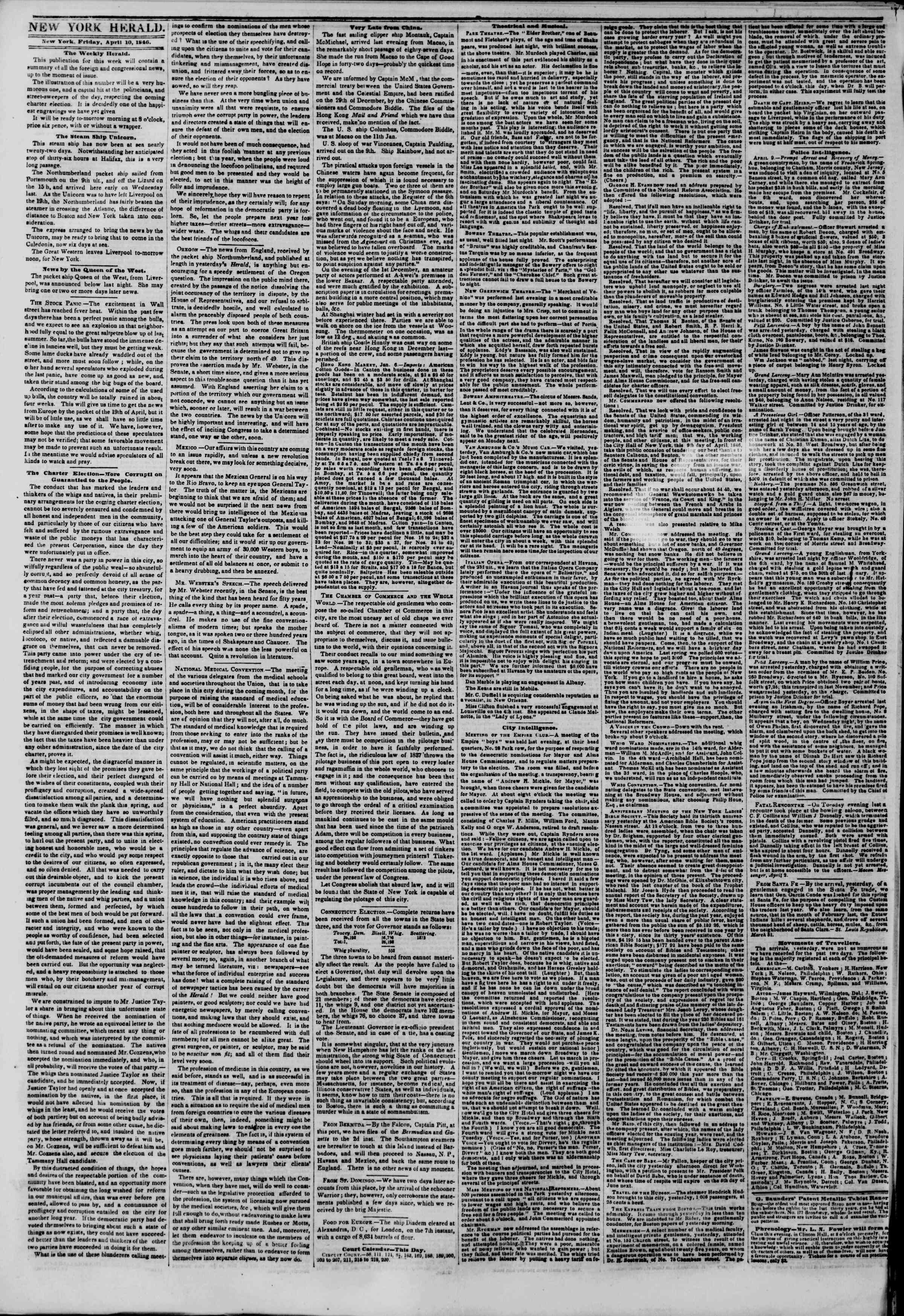 Newspaper of The New York Herald dated April 10, 1846 Page 2