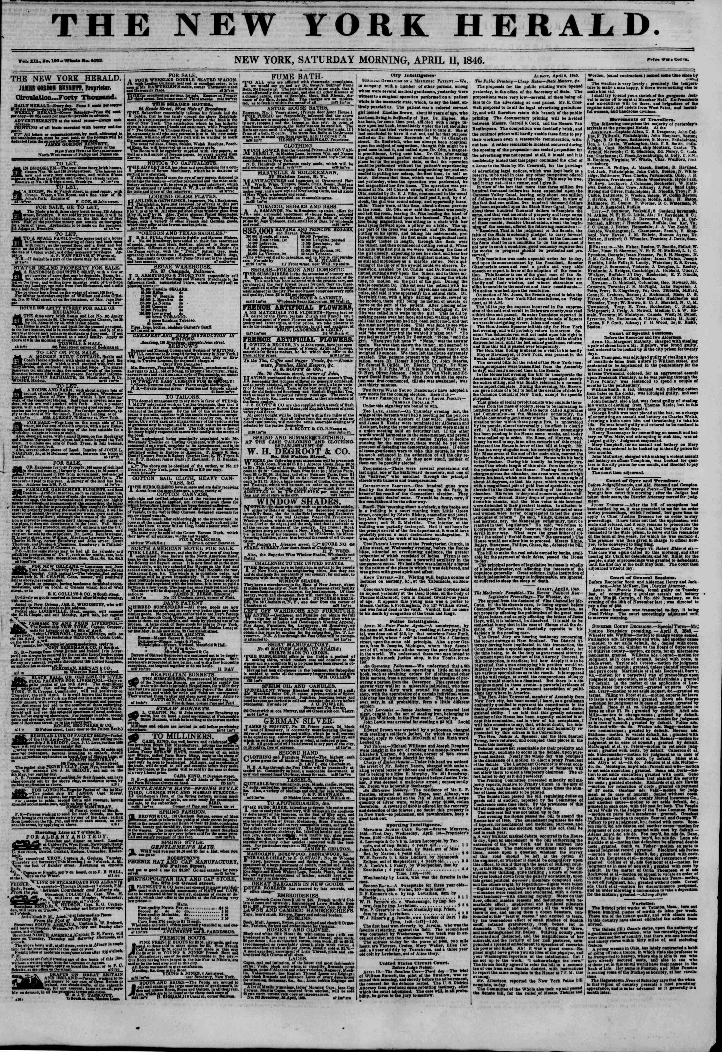 Newspaper of The New York Herald dated April 11, 1846 Page 1