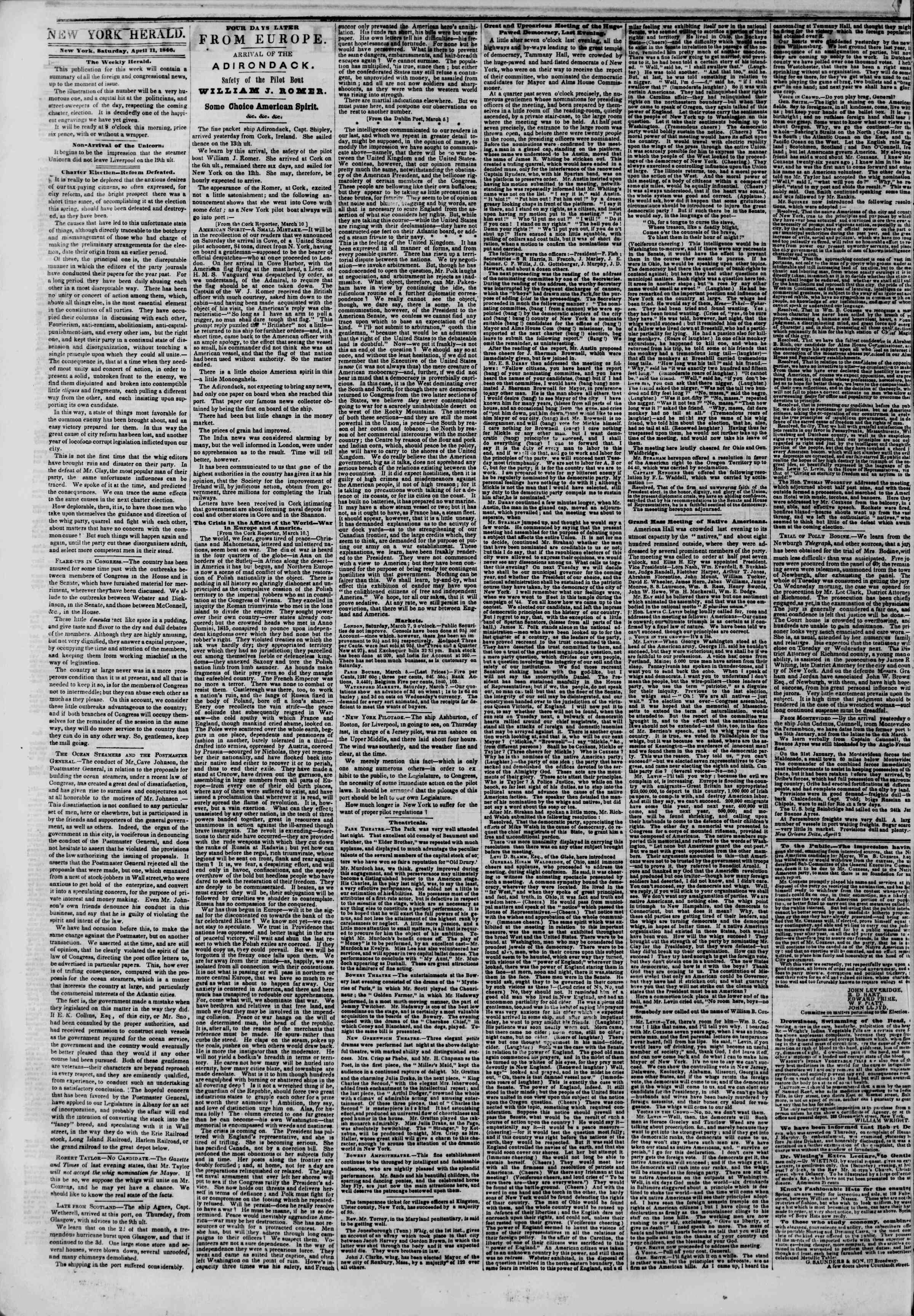 Newspaper of The New York Herald dated April 11, 1846 Page 2