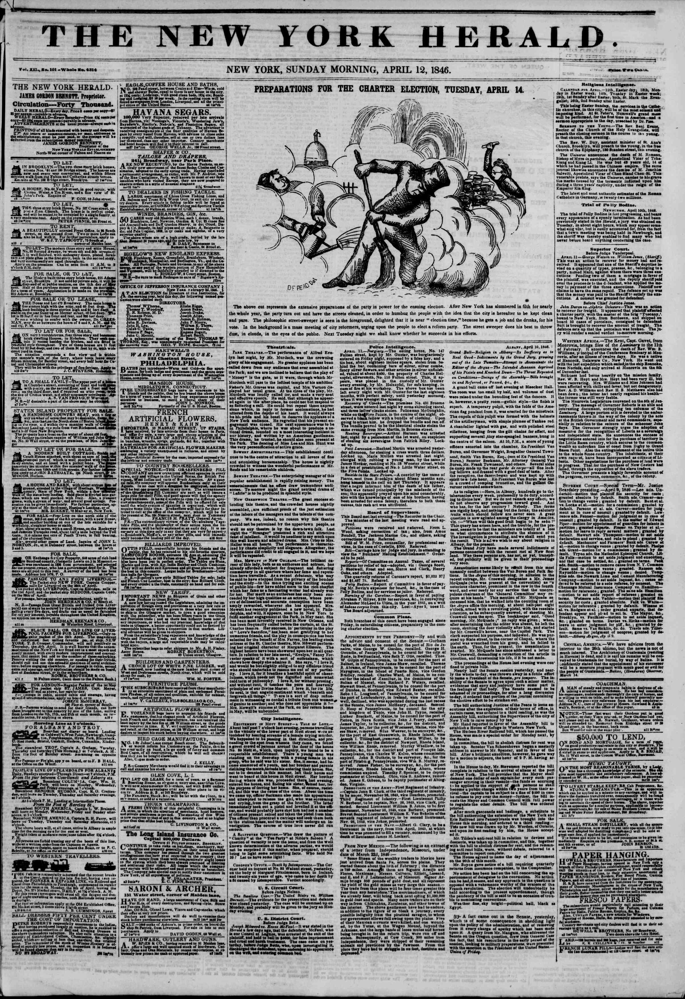 Newspaper of The New York Herald dated April 12, 1846 Page 1