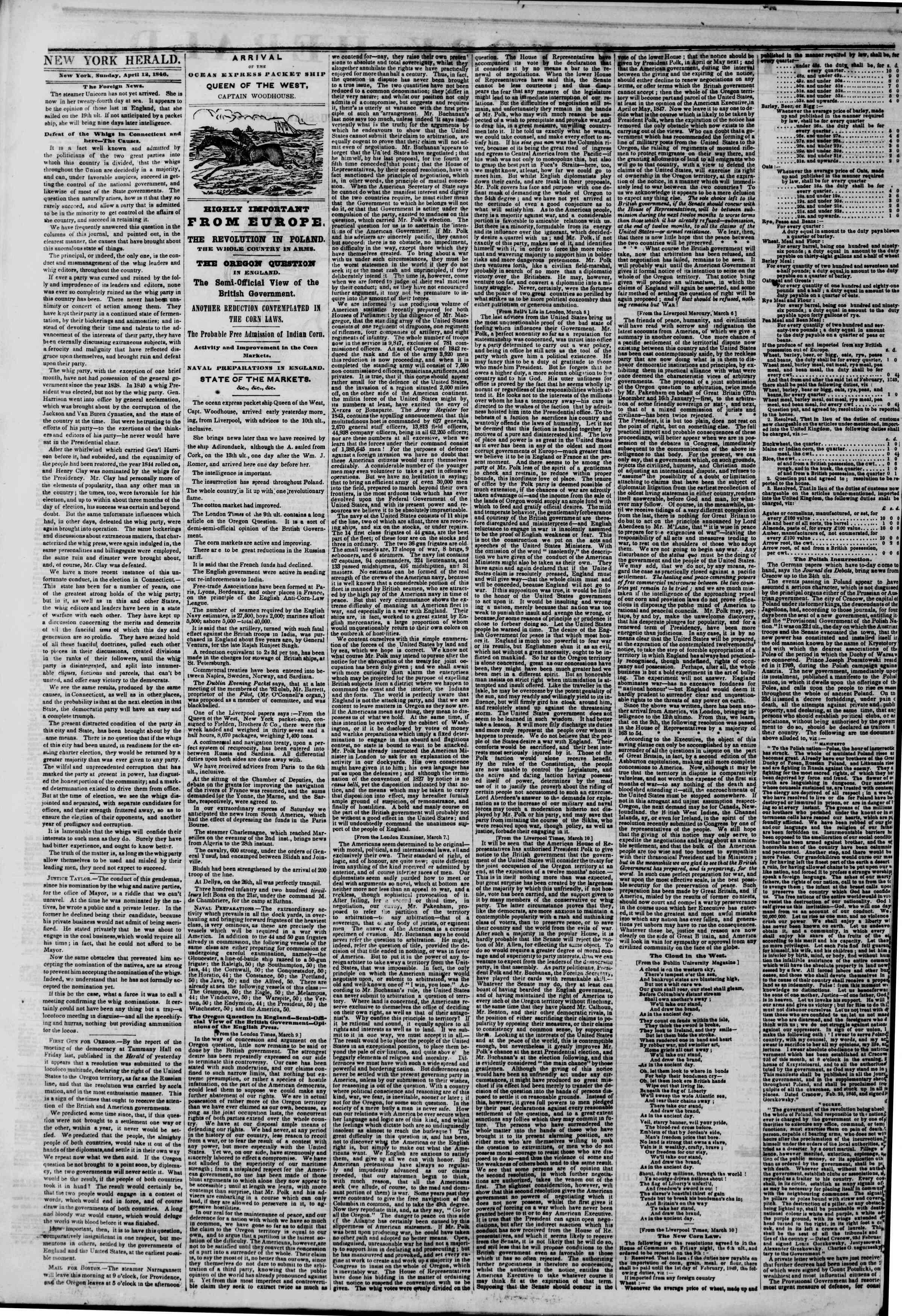 Newspaper of The New York Herald dated 12 Nisan 1846 Page 2