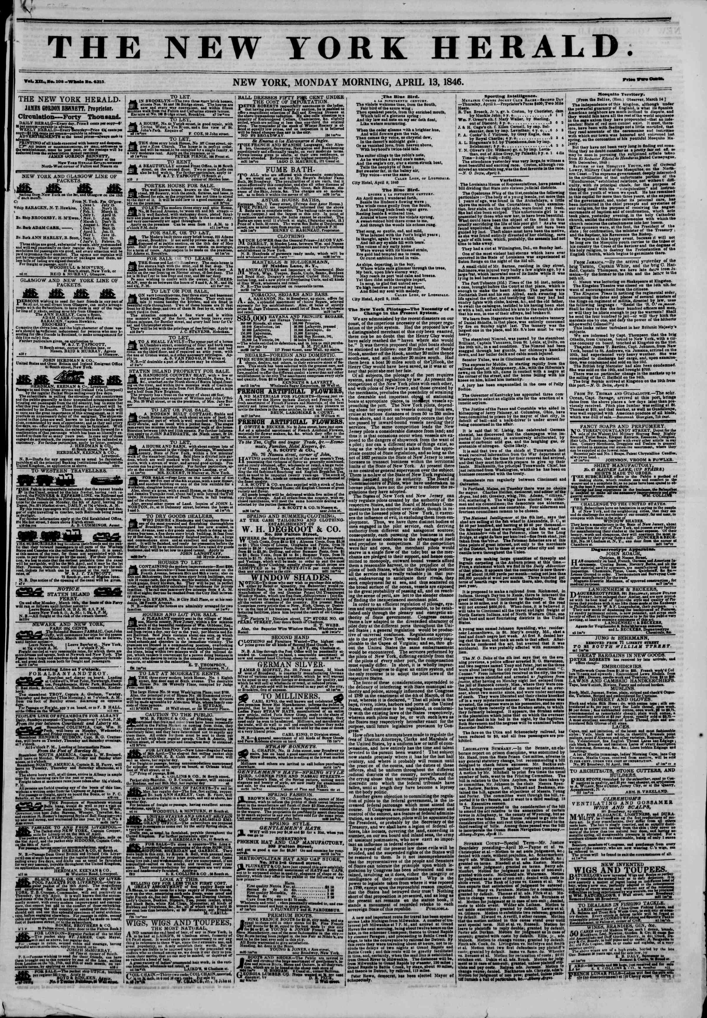 Newspaper of The New York Herald dated April 13, 1846 Page 1