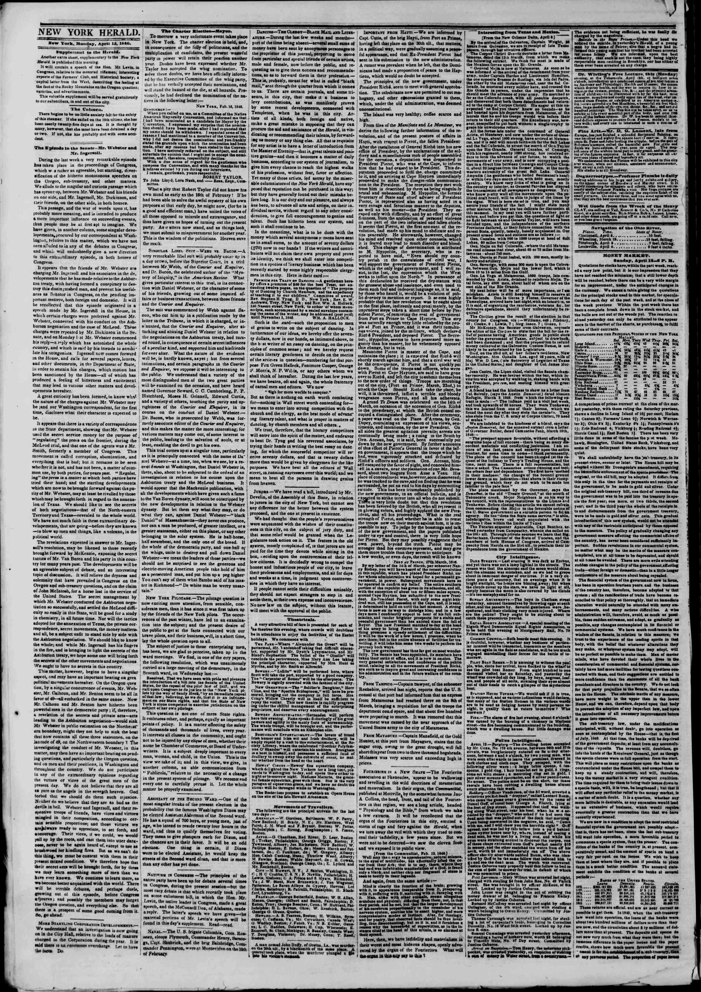 13 Nisan 1846 tarihli The New York Herald Gazetesi Sayfa 2