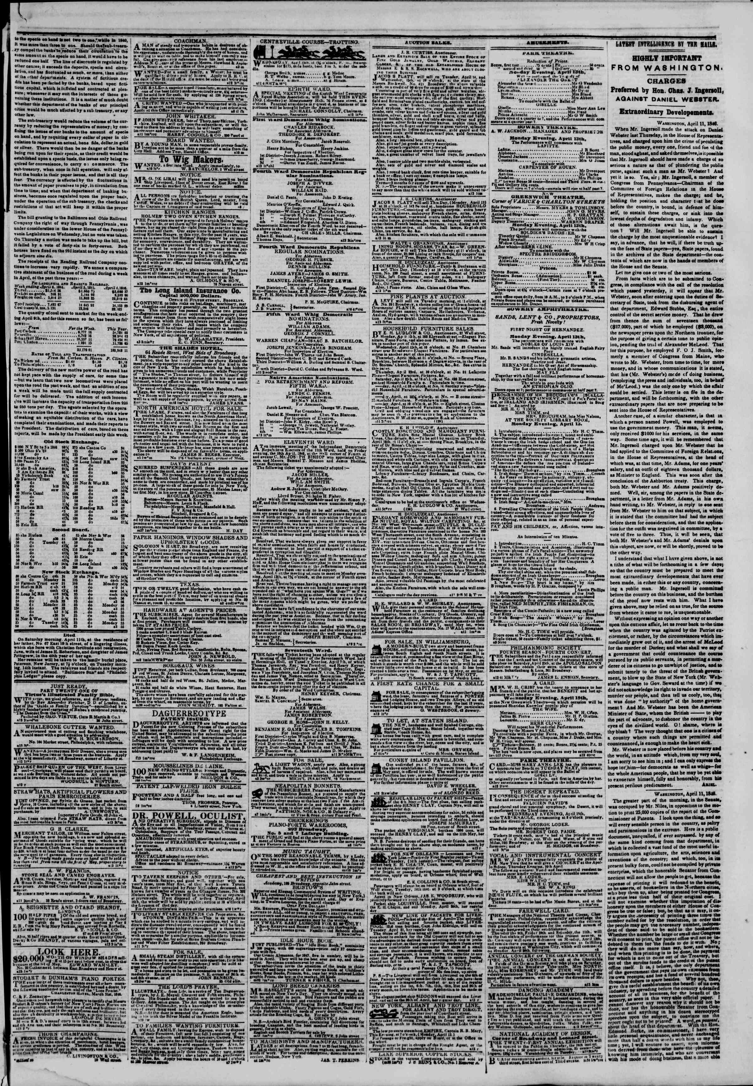 Newspaper of The New York Herald dated April 13, 1846 Page 3
