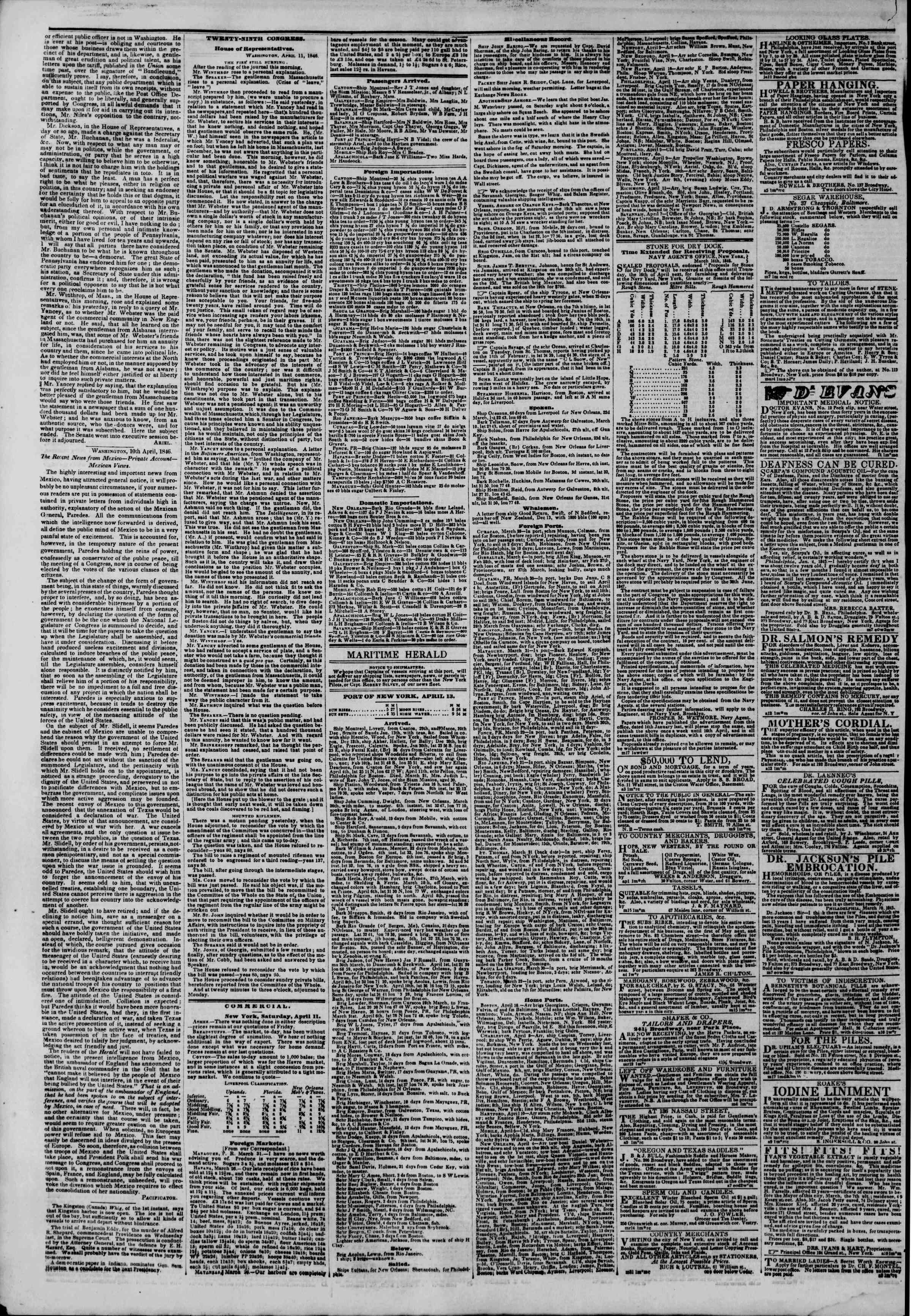 Newspaper of The New York Herald dated April 13, 1846 Page 4