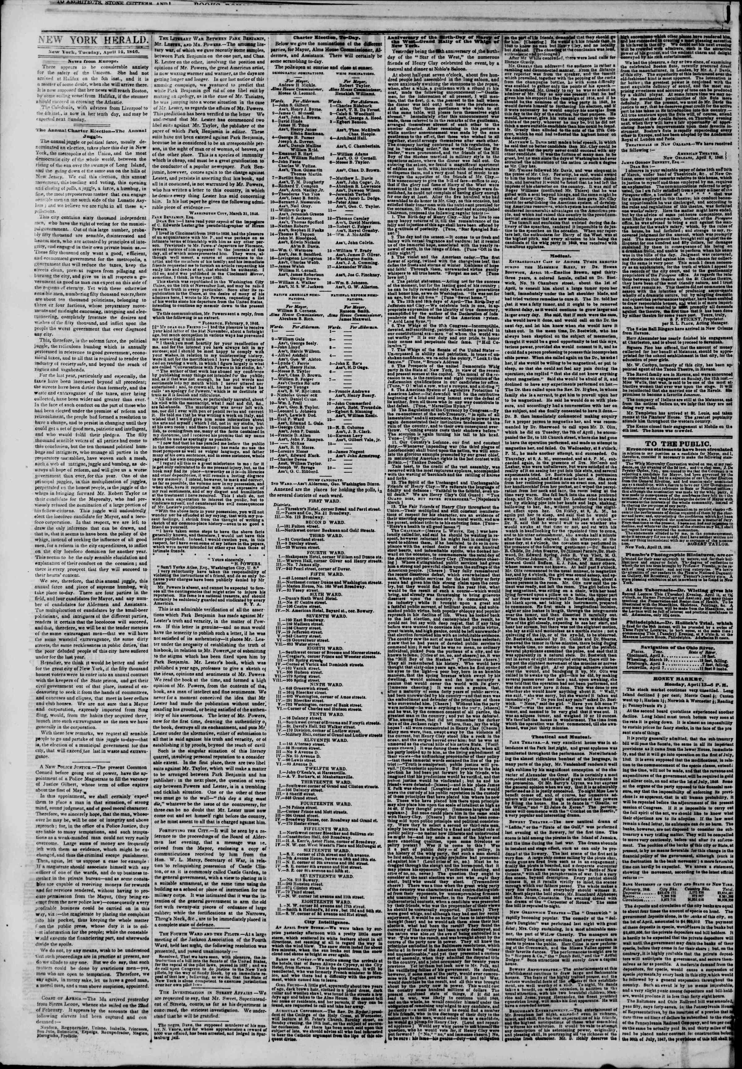 Newspaper of The New York Herald dated 14 Nisan 1846 Page 2