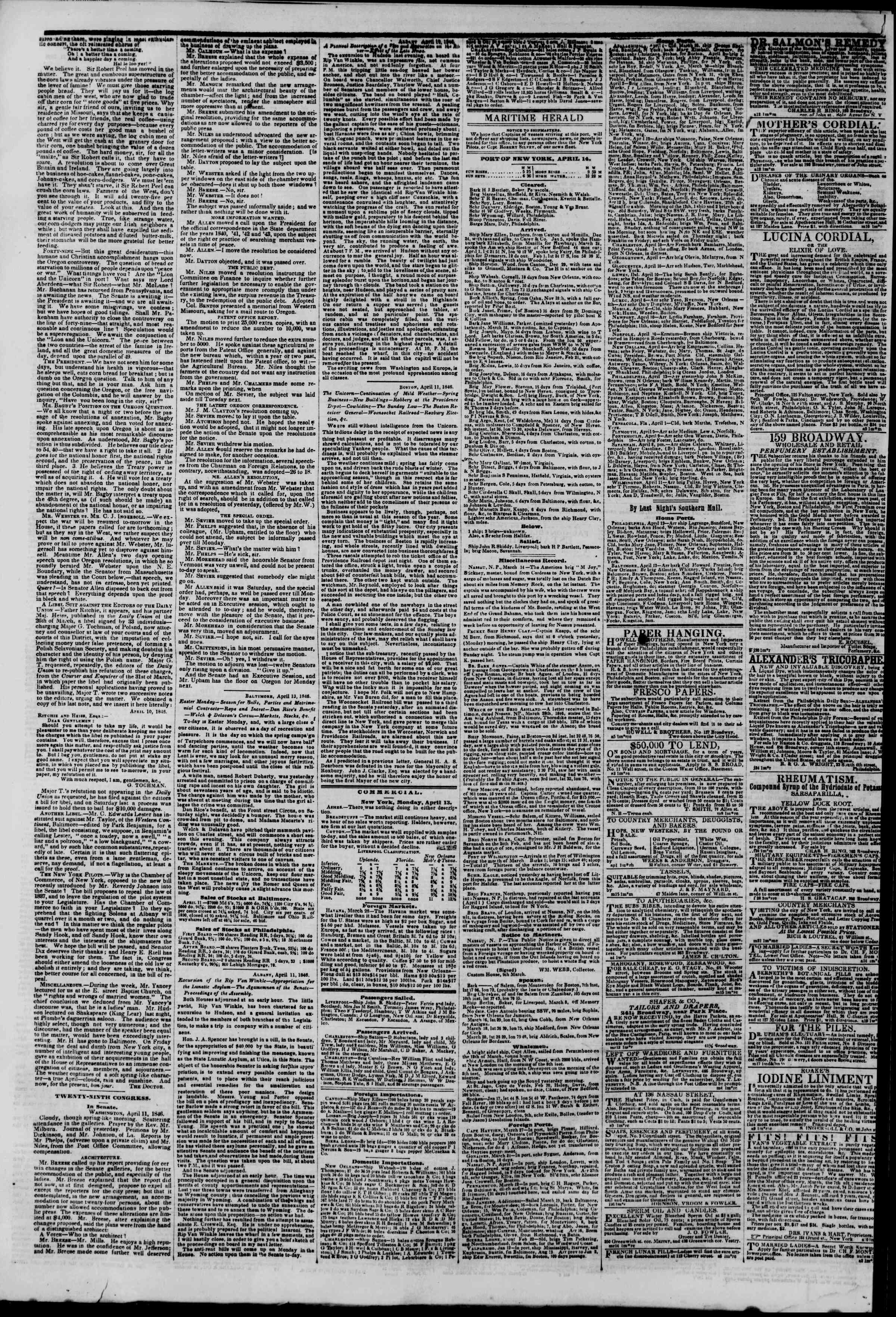 Newspaper of The New York Herald dated April 14, 1846 Page 4