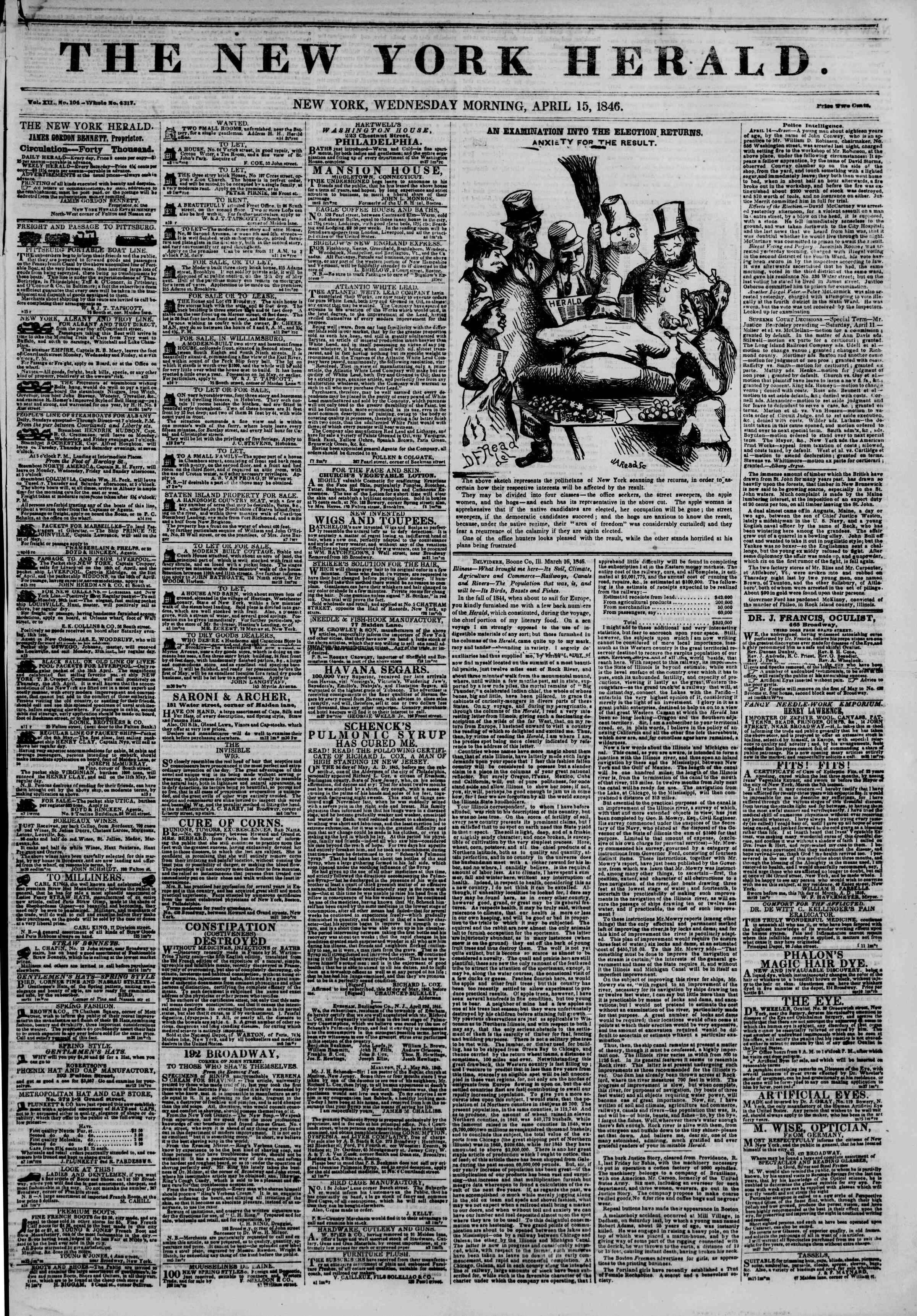 Newspaper of The New York Herald dated April 15, 1846 Page 1