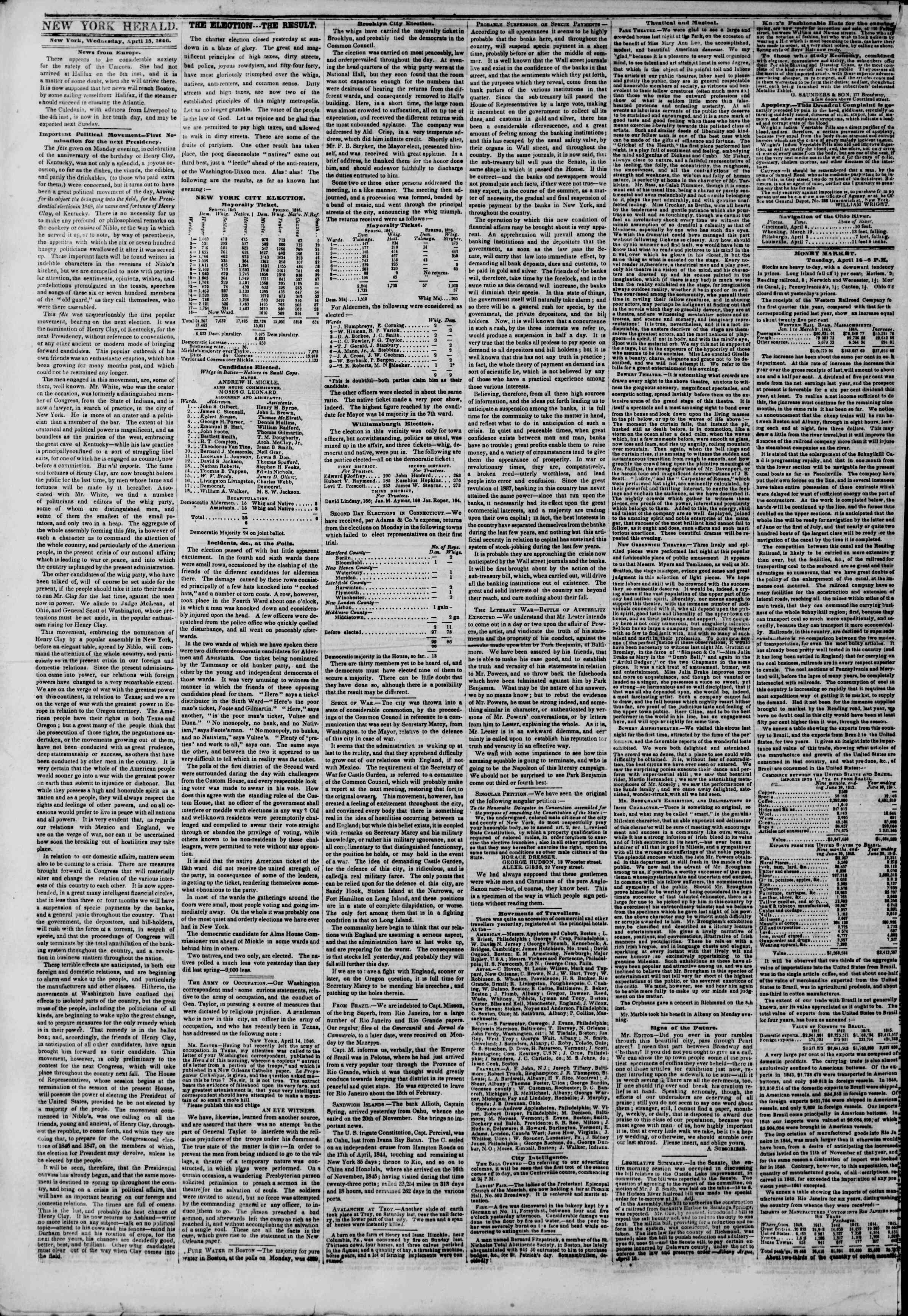 Newspaper of The New York Herald dated April 15, 1846 Page 2