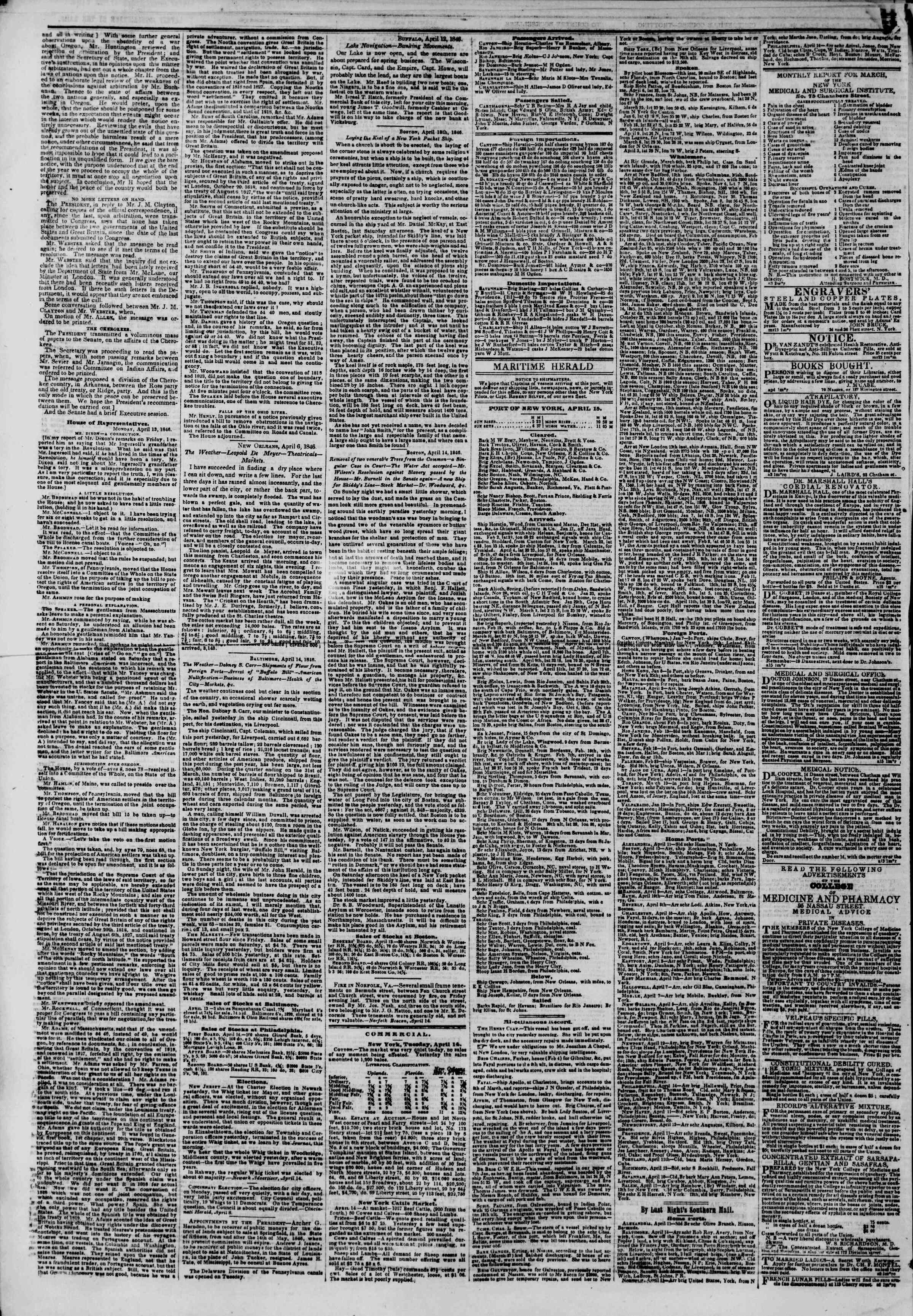 Newspaper of The New York Herald dated April 15, 1846 Page 4