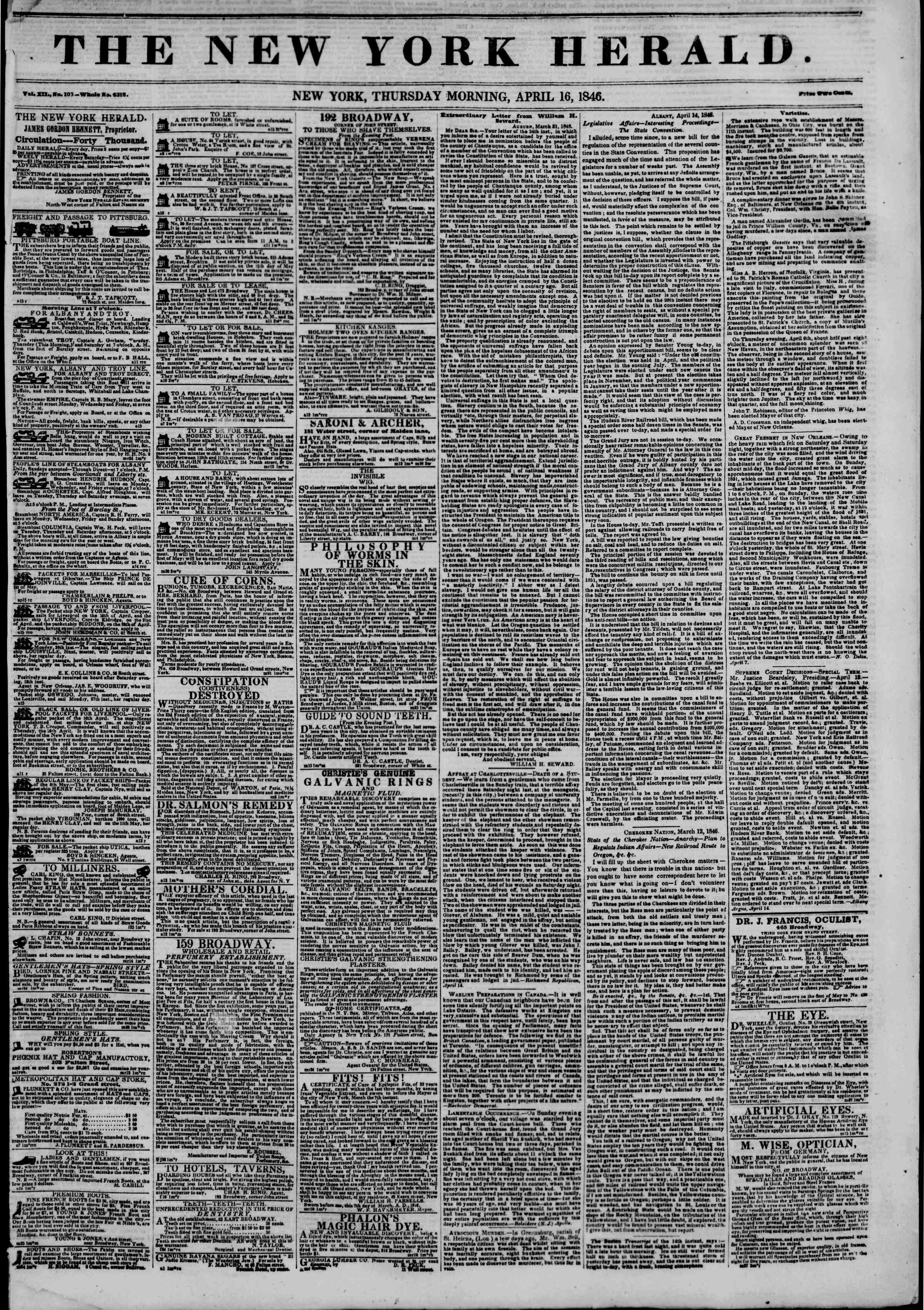 Newspaper of The New York Herald dated April 16, 1846 Page 2