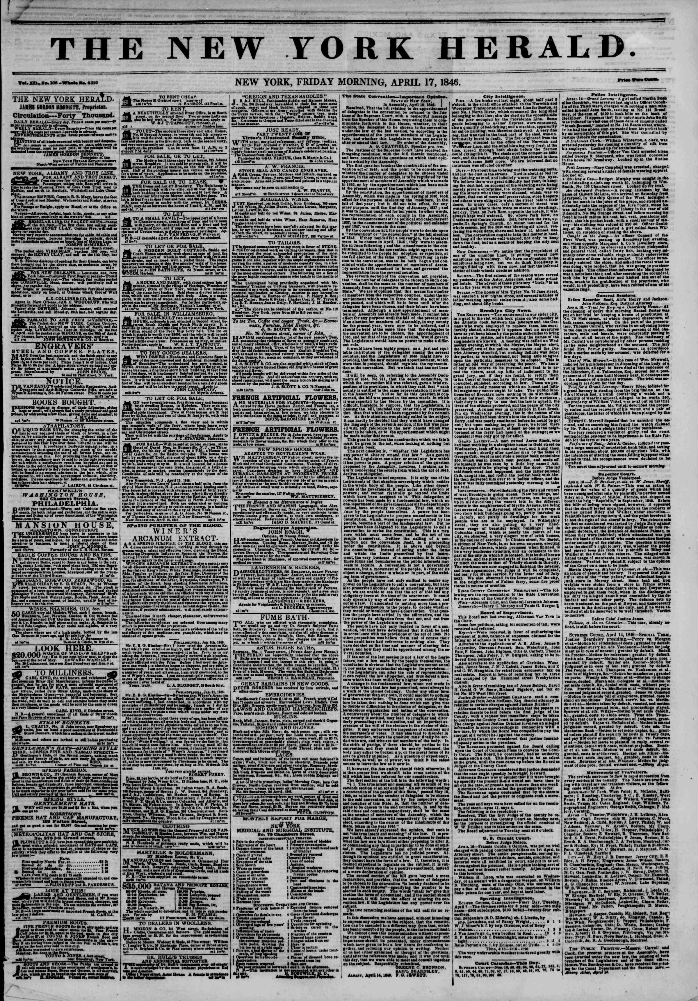 Newspaper of The New York Herald dated April 17, 1846 Page 1