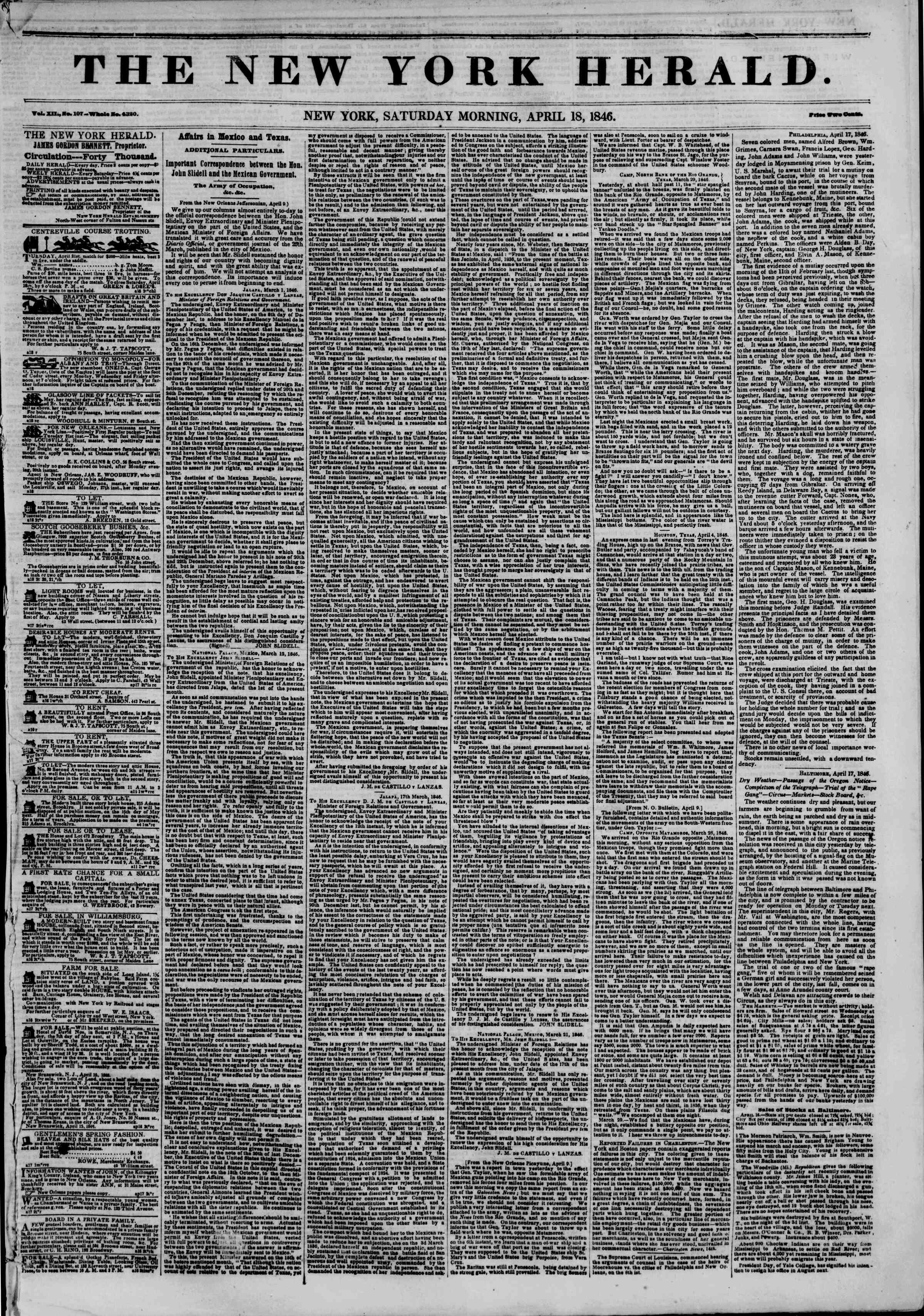 Newspaper of The New York Herald dated April 18, 1846 Page 1