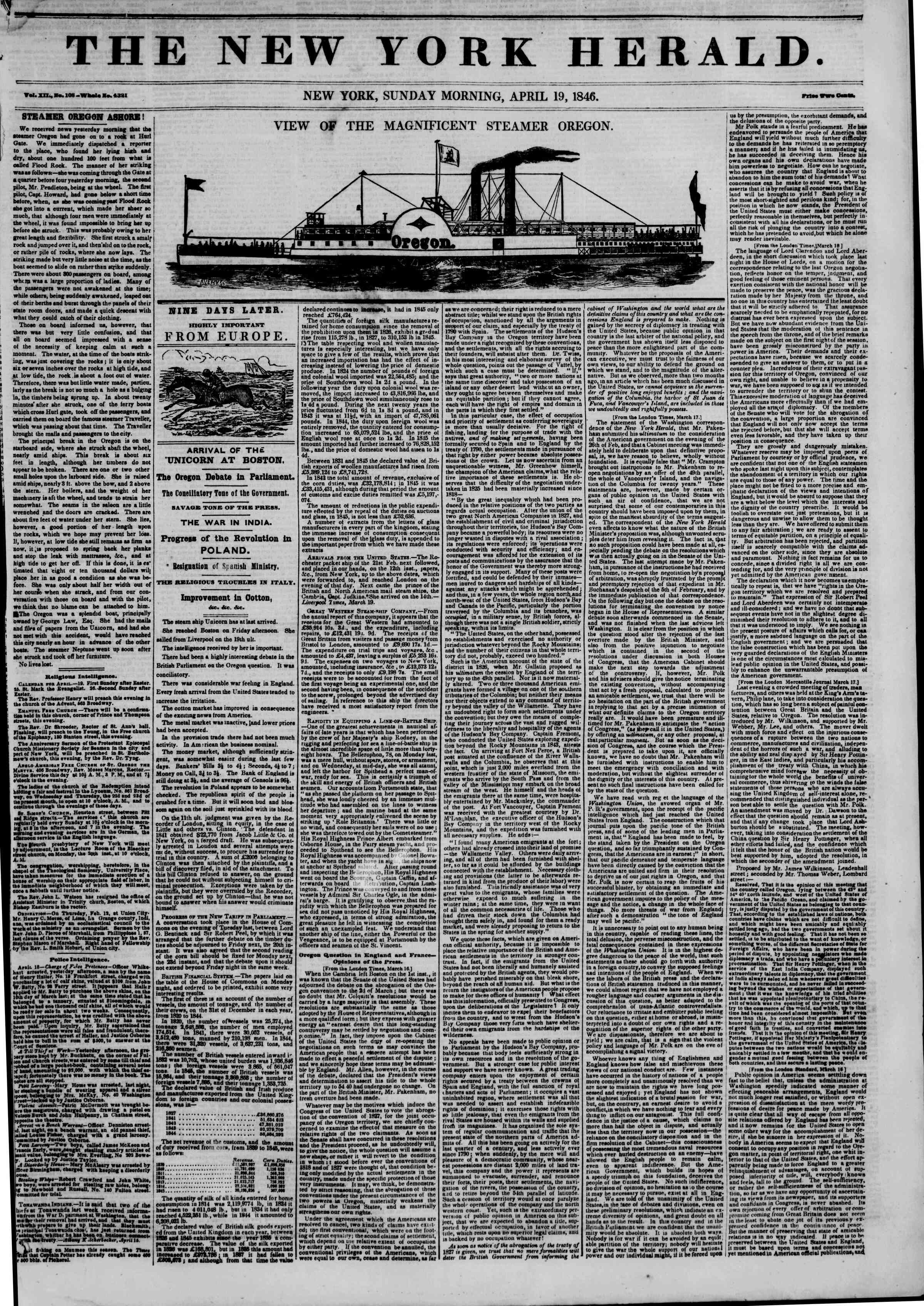 Newspaper of The New York Herald dated April 19, 1846 Page 1