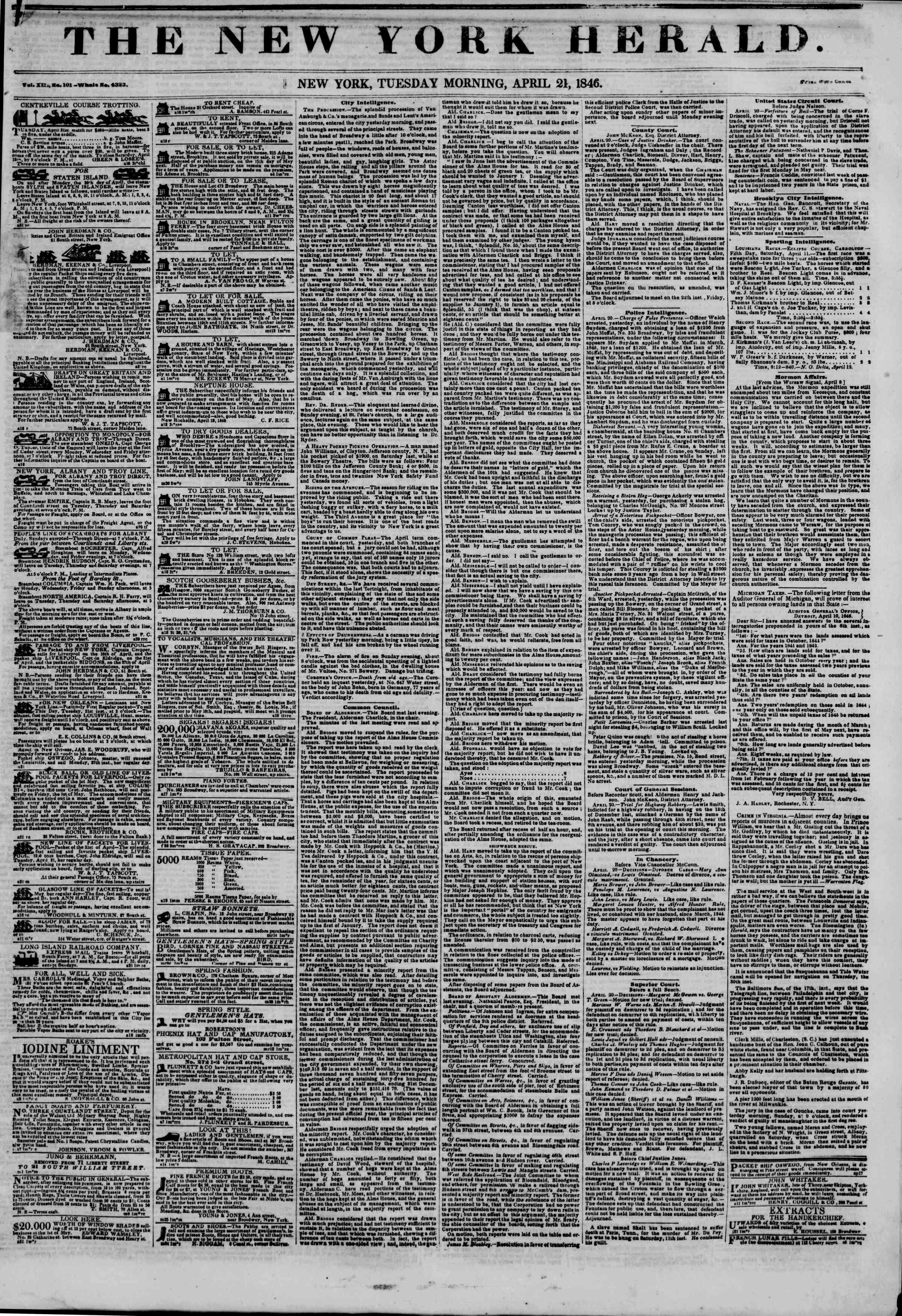 21 Nisan 1846 tarihli The New York Herald Gazetesi Sayfa 1