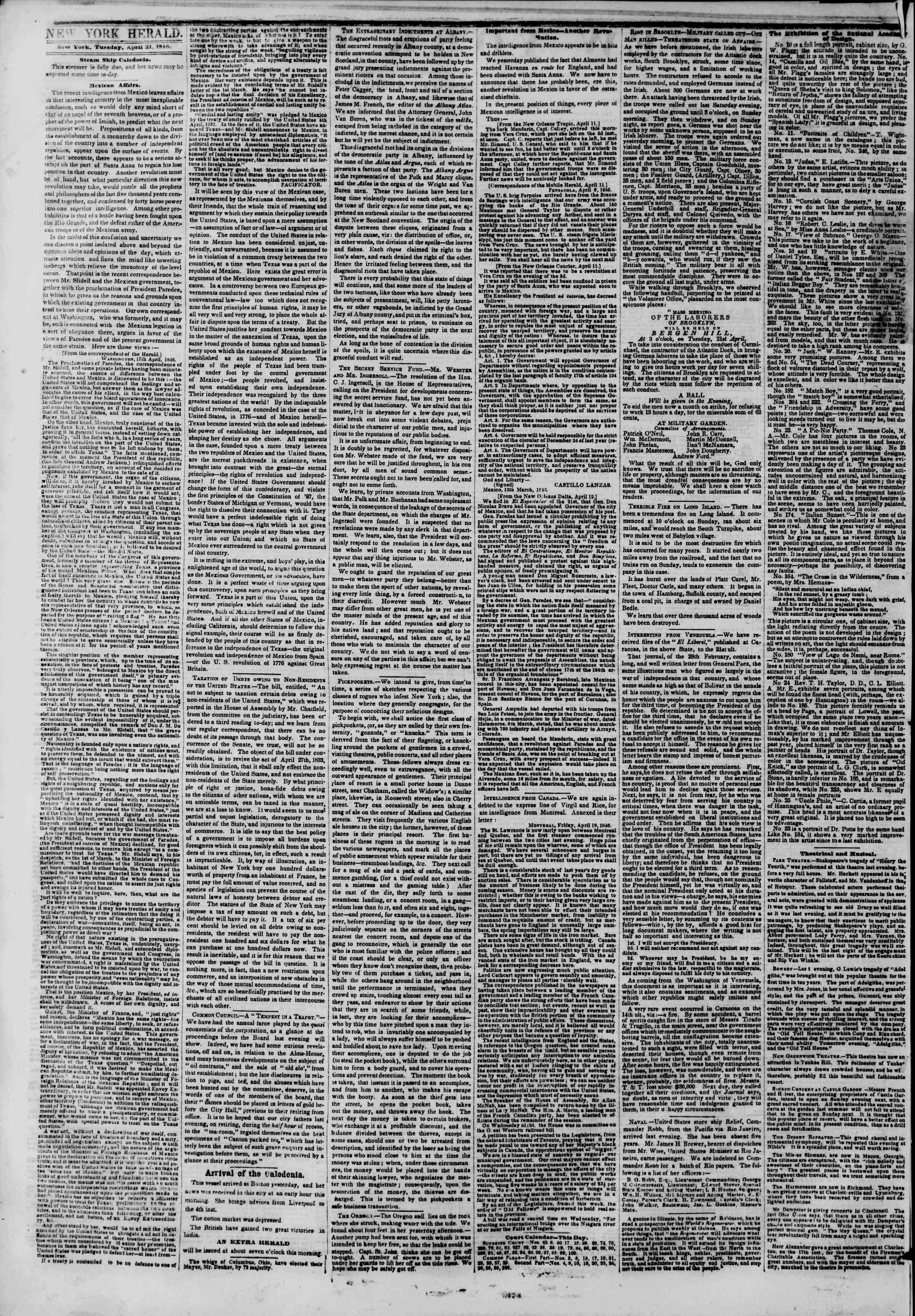 Newspaper of The New York Herald dated April 21, 1846 Page 2