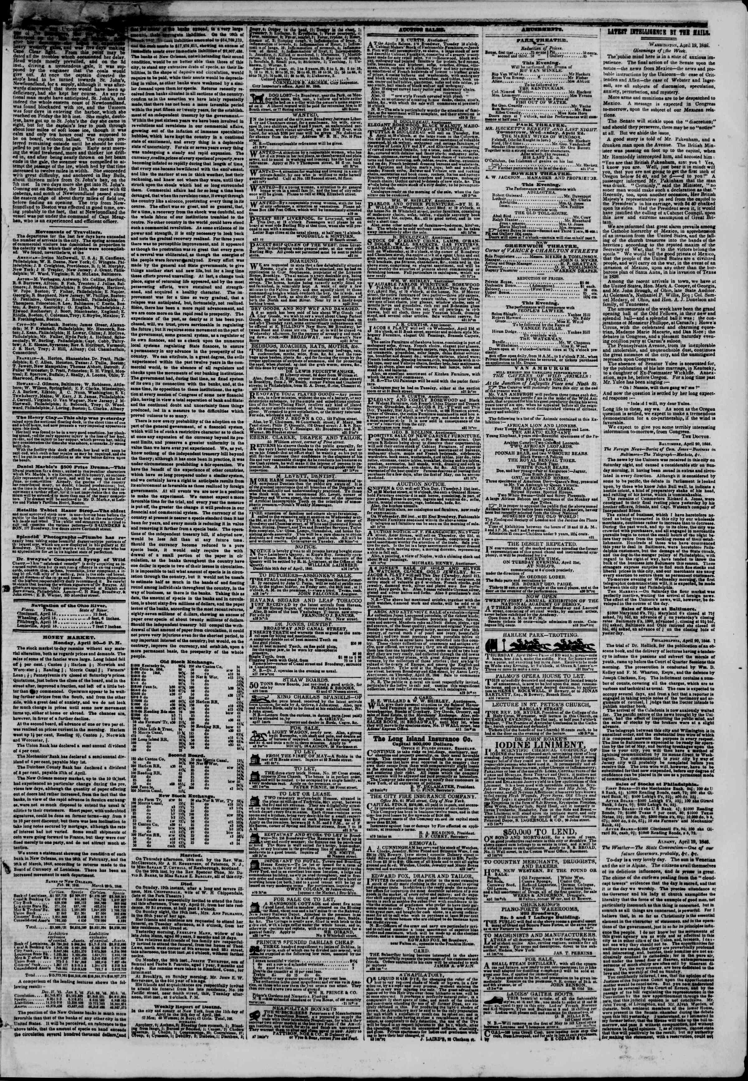 Newspaper of The New York Herald dated April 21, 1846 Page 3