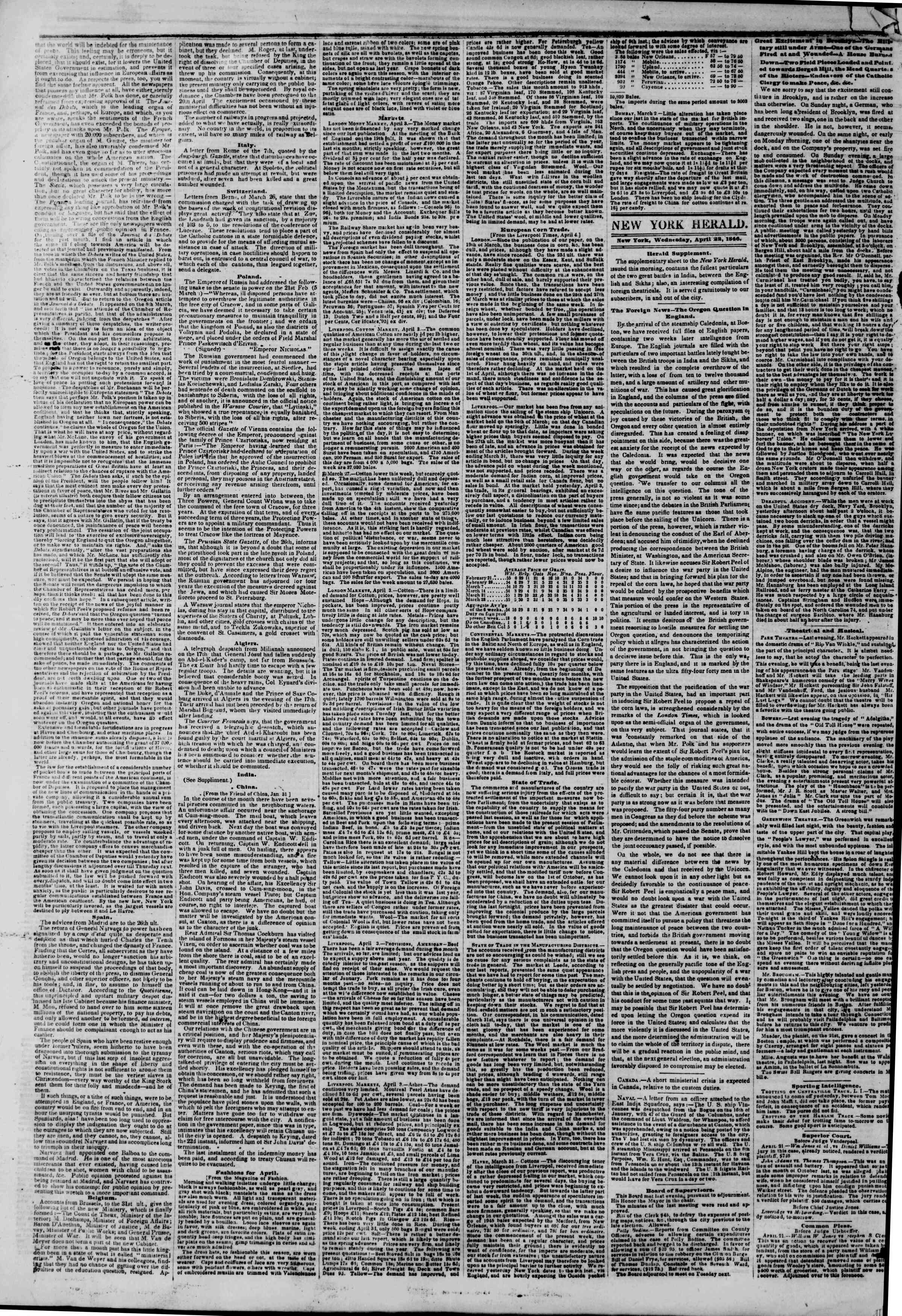 Newspaper of The New York Herald dated April 22, 1846 Page 2