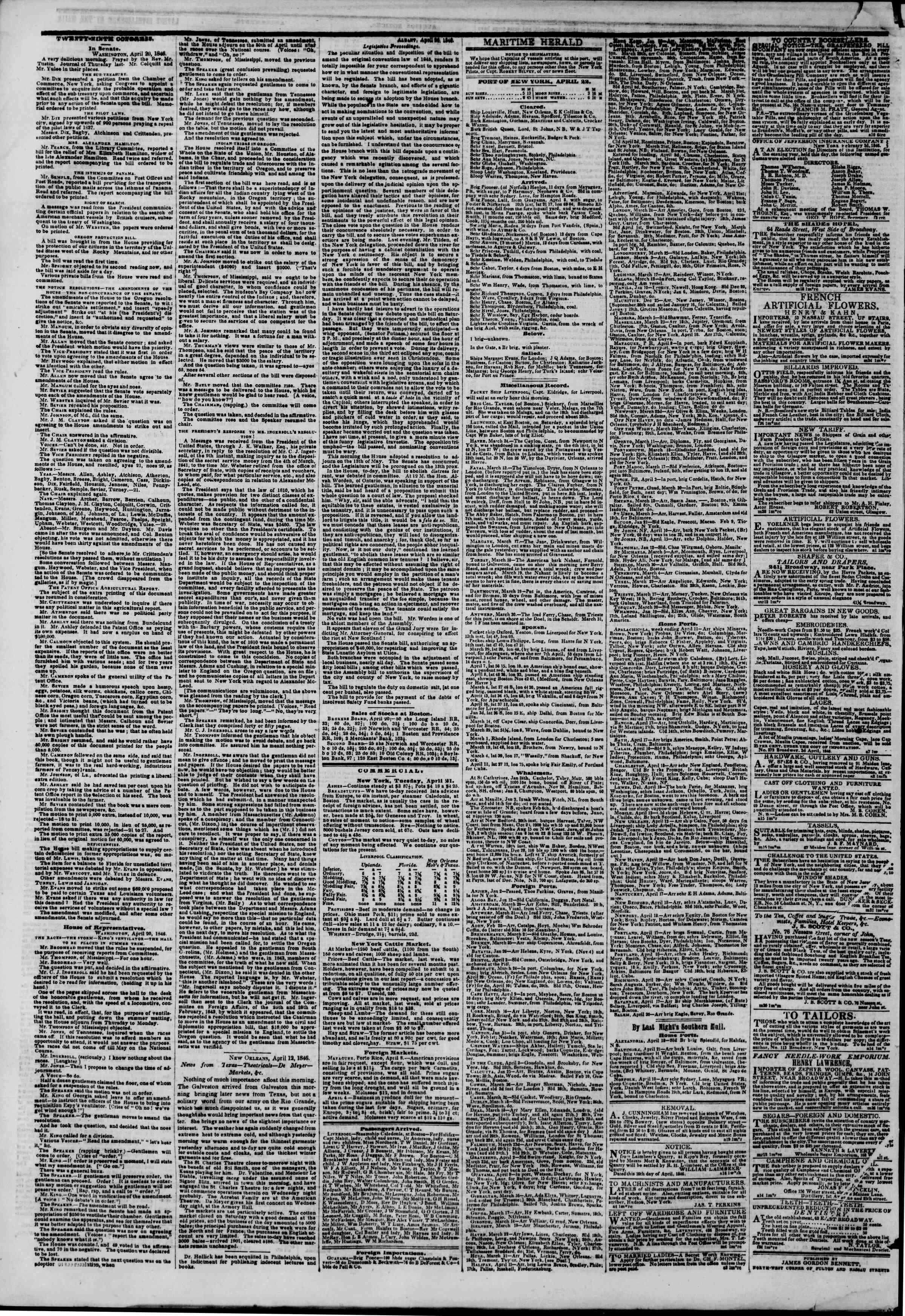 Newspaper of The New York Herald dated April 22, 1846 Page 4