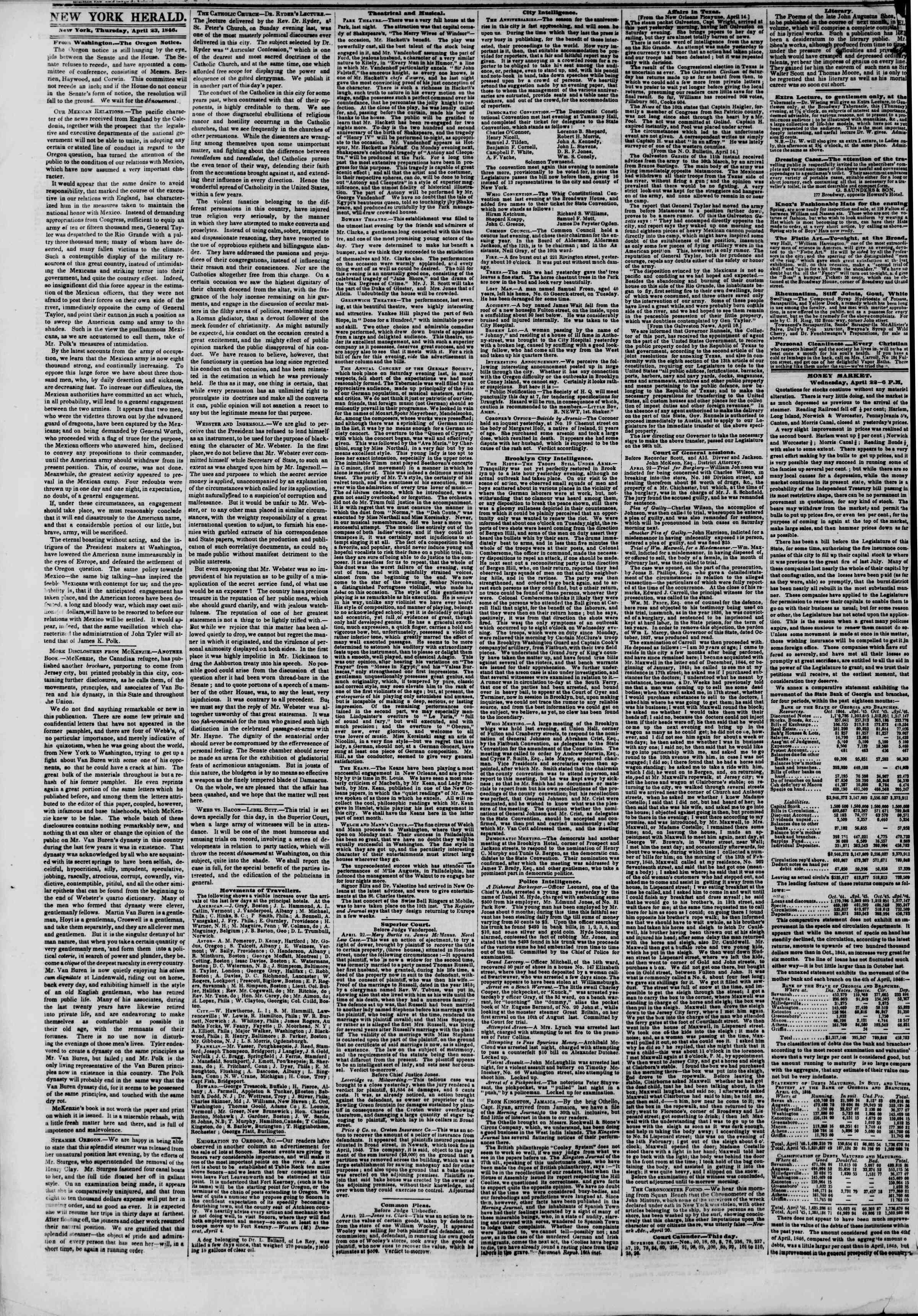 Newspaper of The New York Herald dated April 23, 1846 Page 2