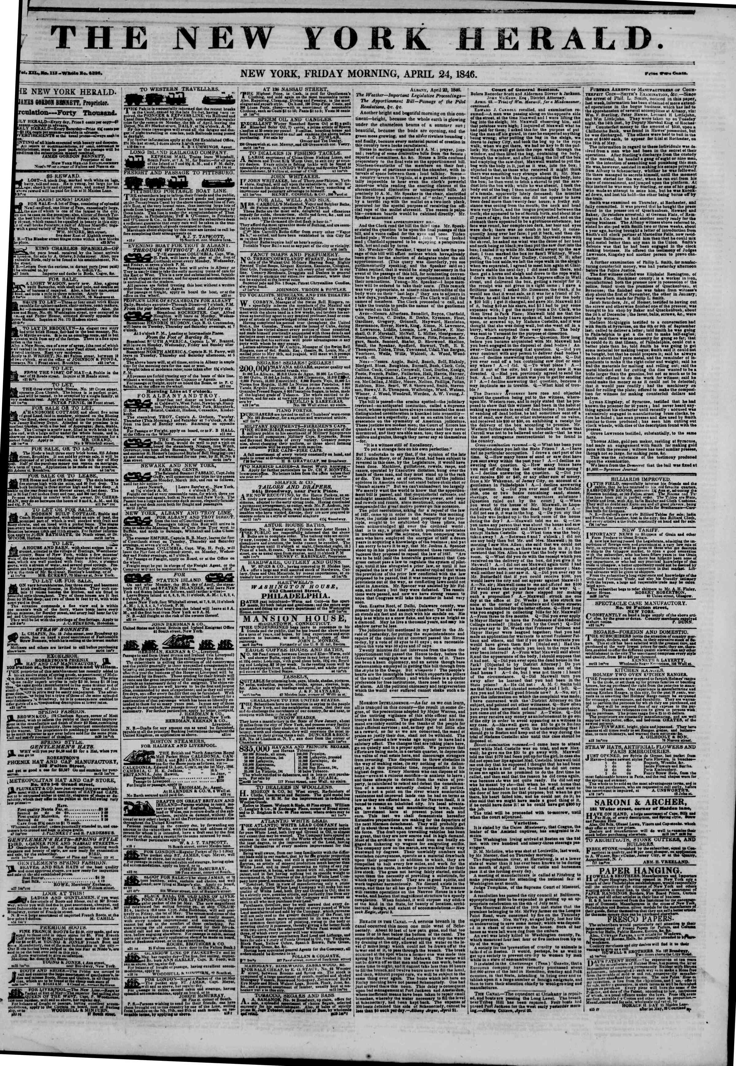 Newspaper of The New York Herald dated April 24, 1846 Page 1
