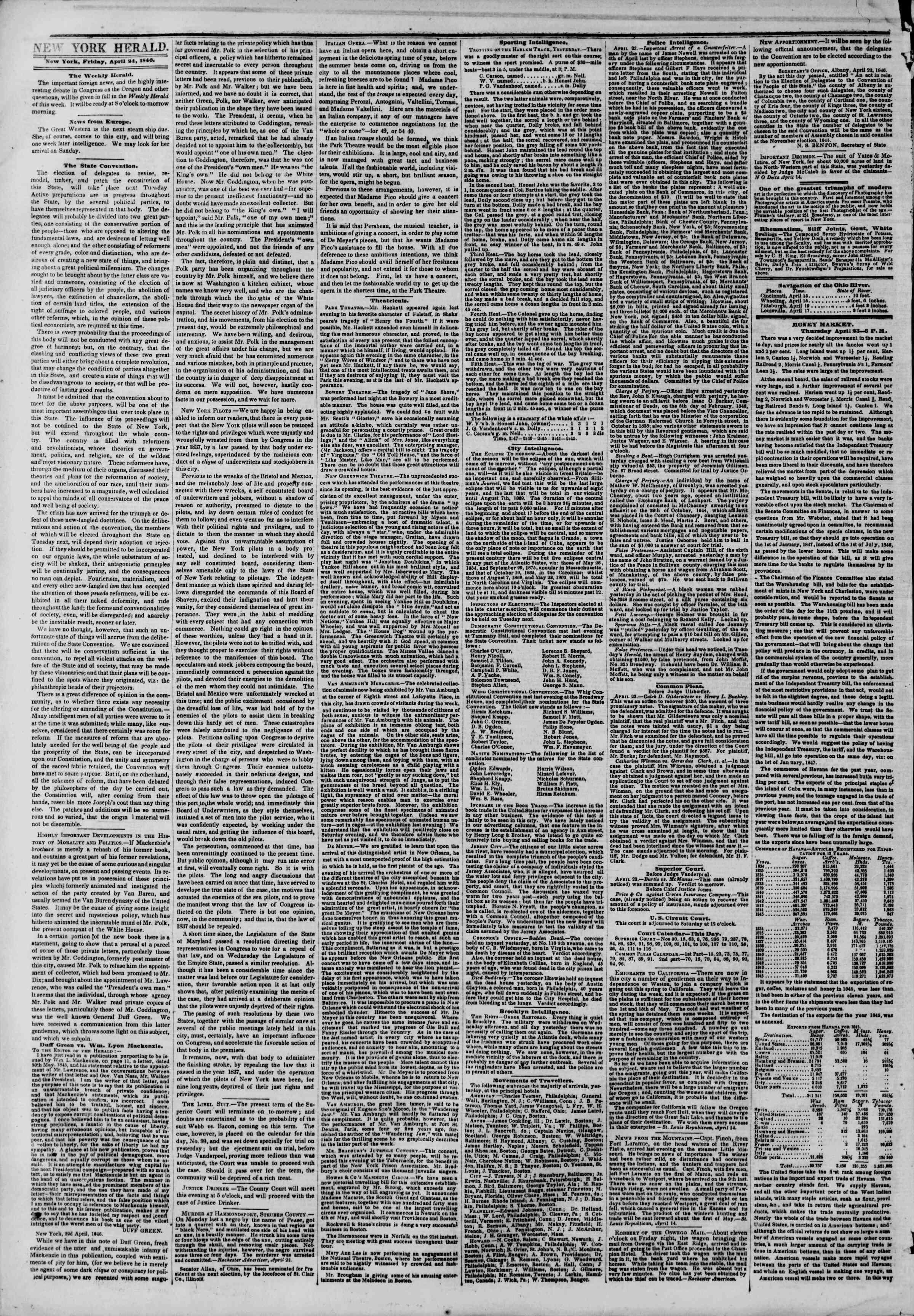 24 Nisan 1846 tarihli The New York Herald Gazetesi Sayfa 2