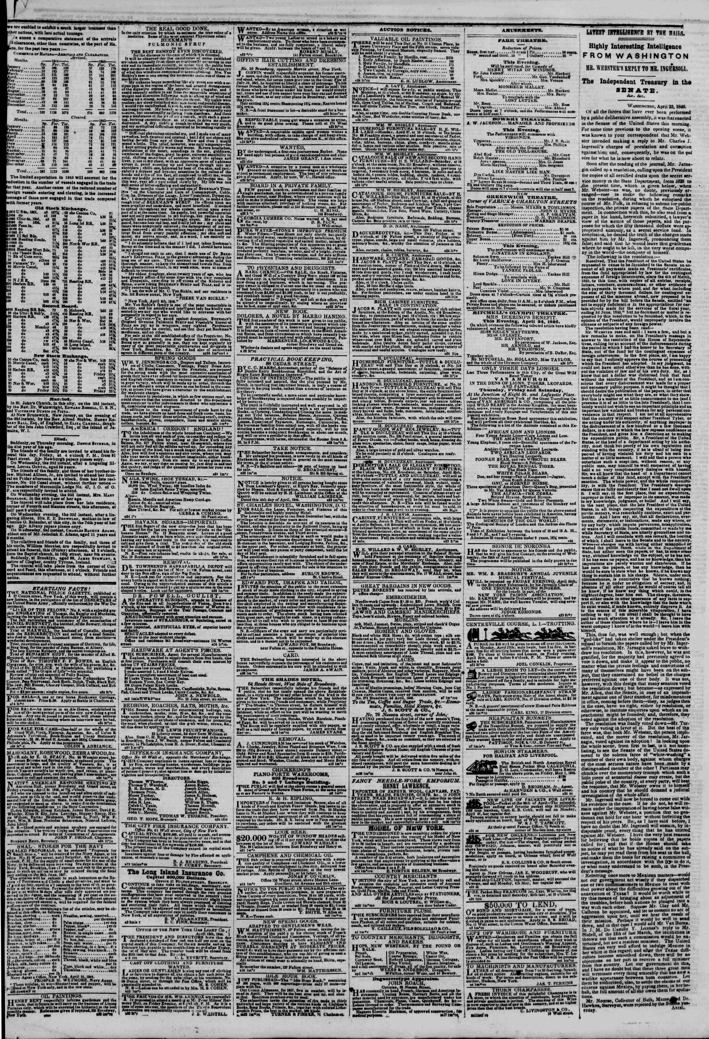 Newspaper of The New York Herald dated April 24, 1846 Page 3
