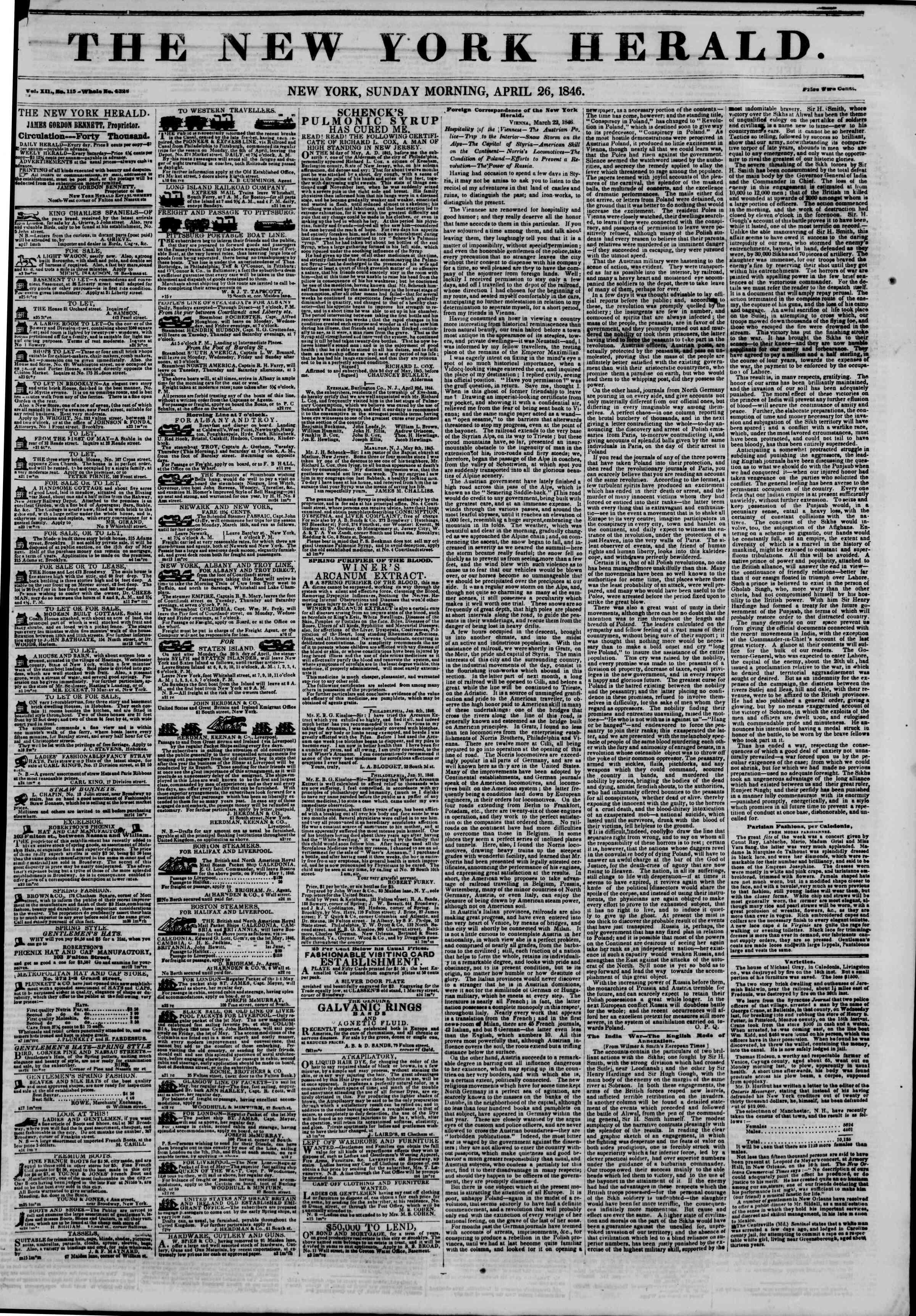 26 Nisan 1846 tarihli The New York Herald Gazetesi Sayfa 1